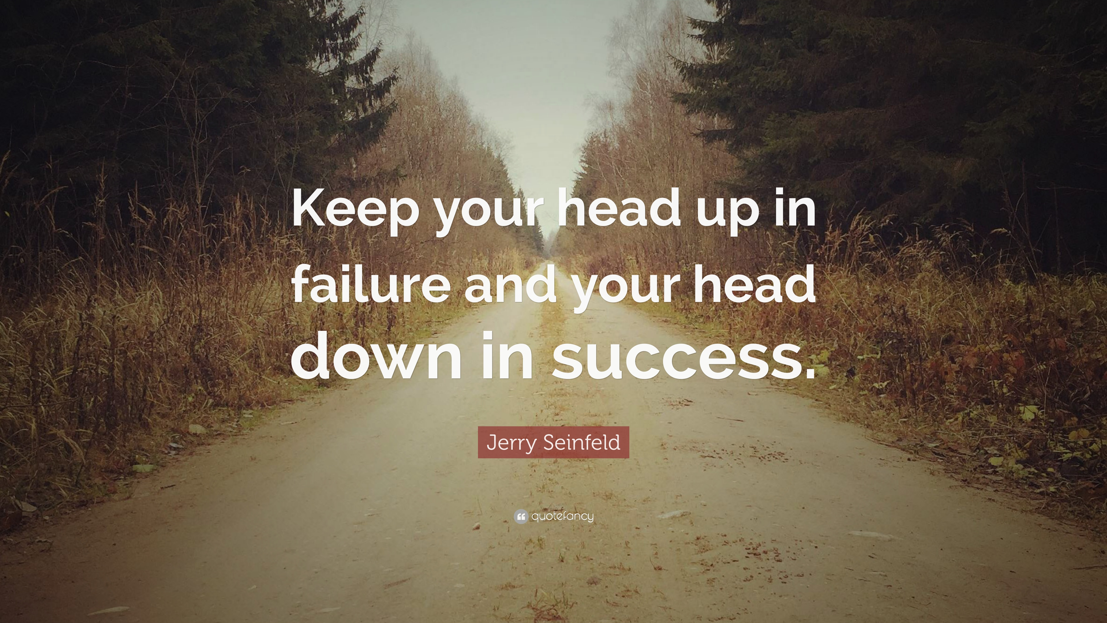 Jerry Seinfeld Quote Keep Your Head Up In Failure And Your Head