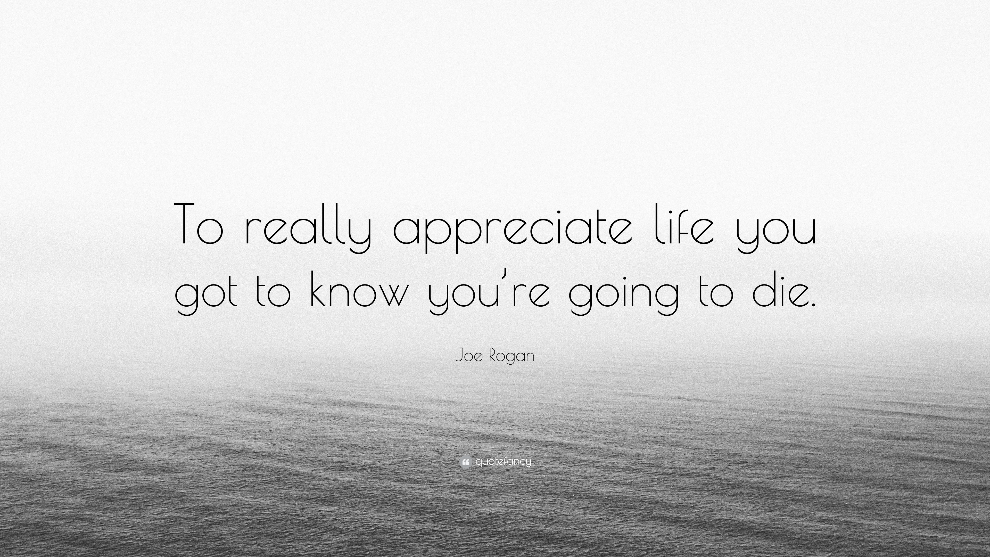 joe rogan quote to really appreciate life you got to know you re