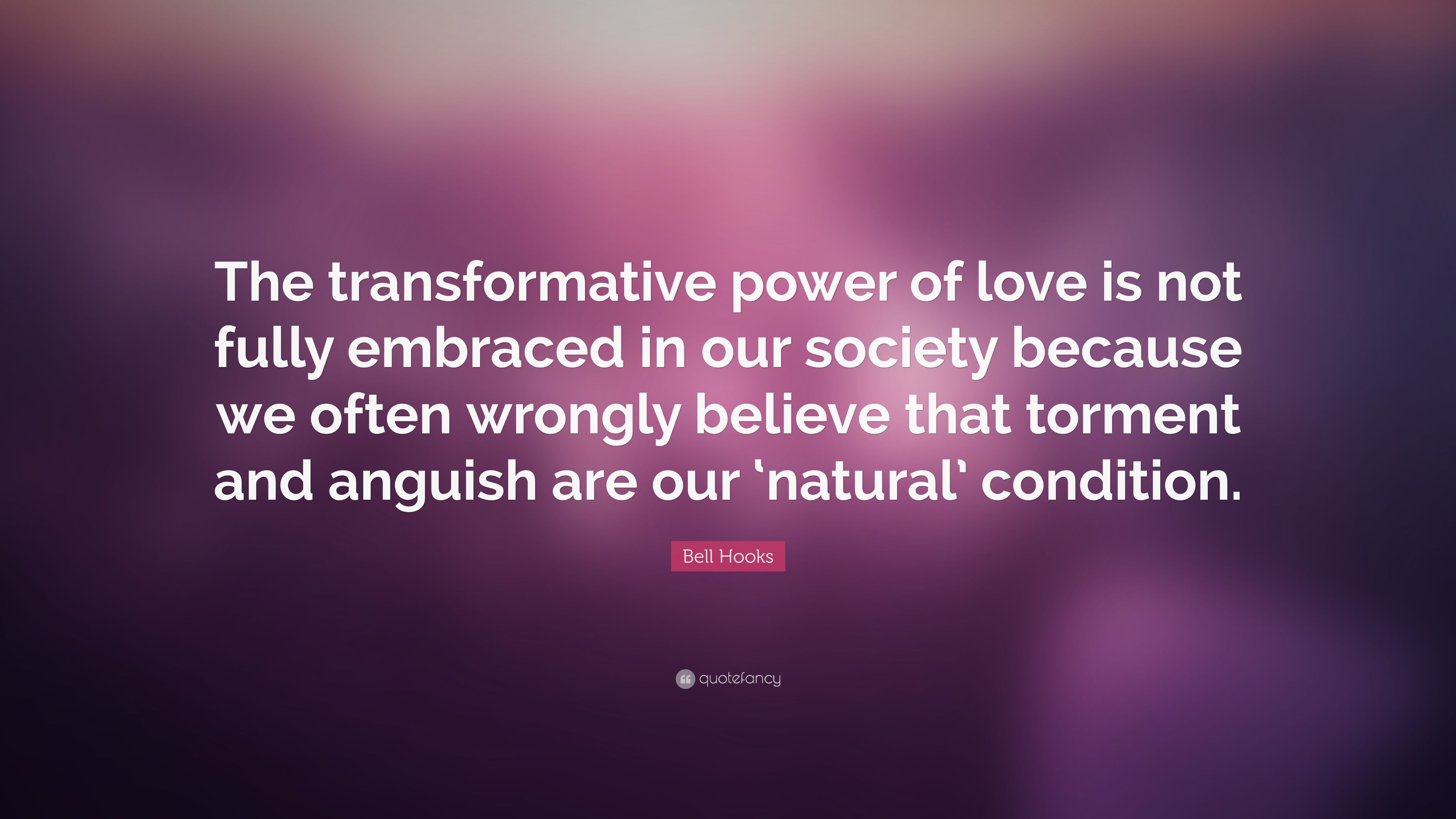 """Bell Hooks Quote: """"The Transformative Power Of Love Is Not"""