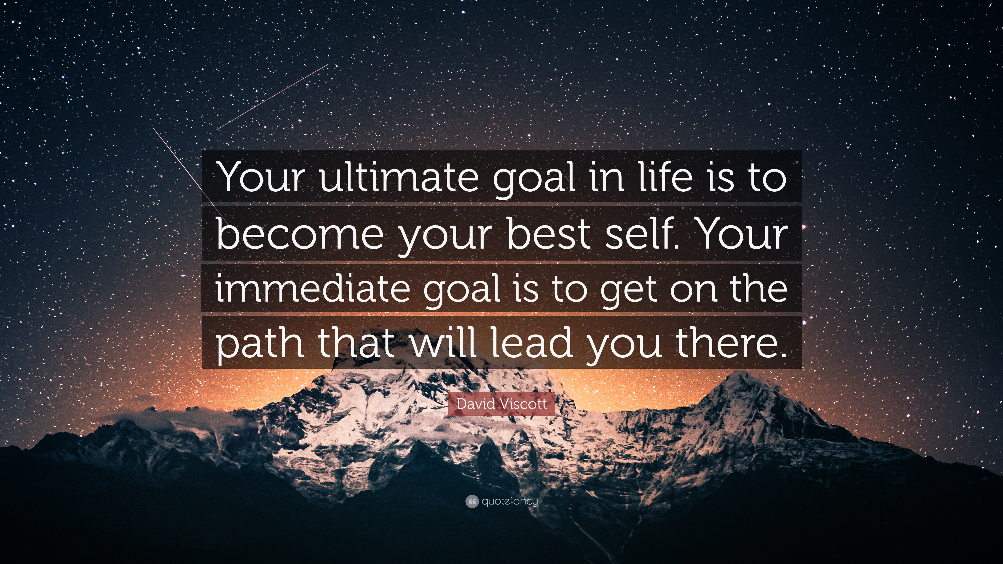 """David Viscott Quote: """"Your ultimate goal in life is to ..."""