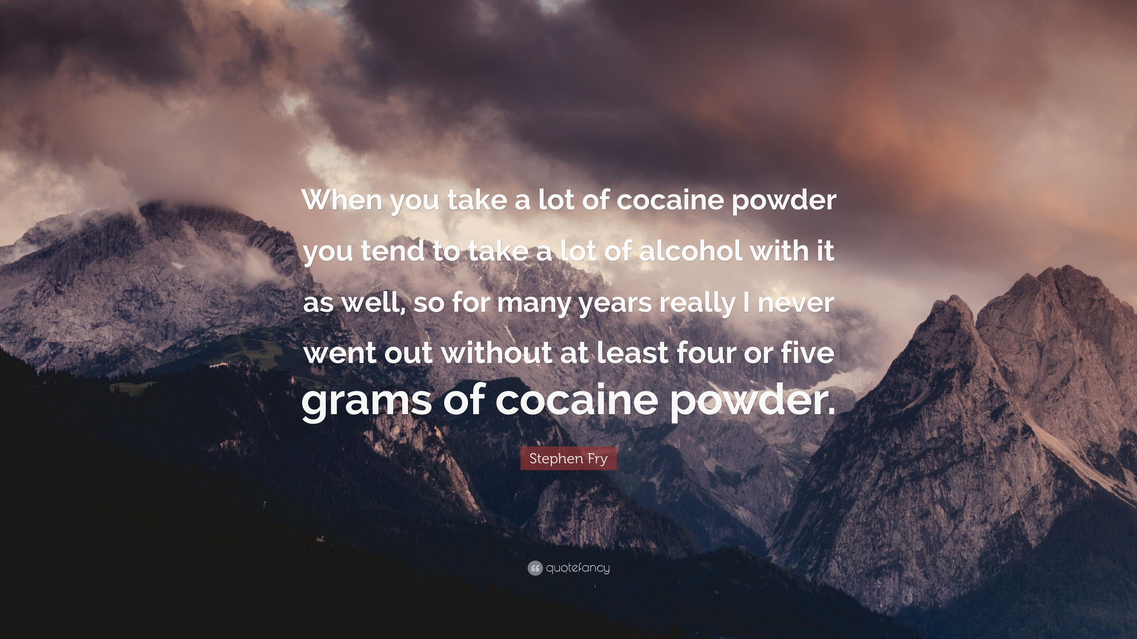 Stephen Fry Quote When You Take A Lot Of Cocaine Powder