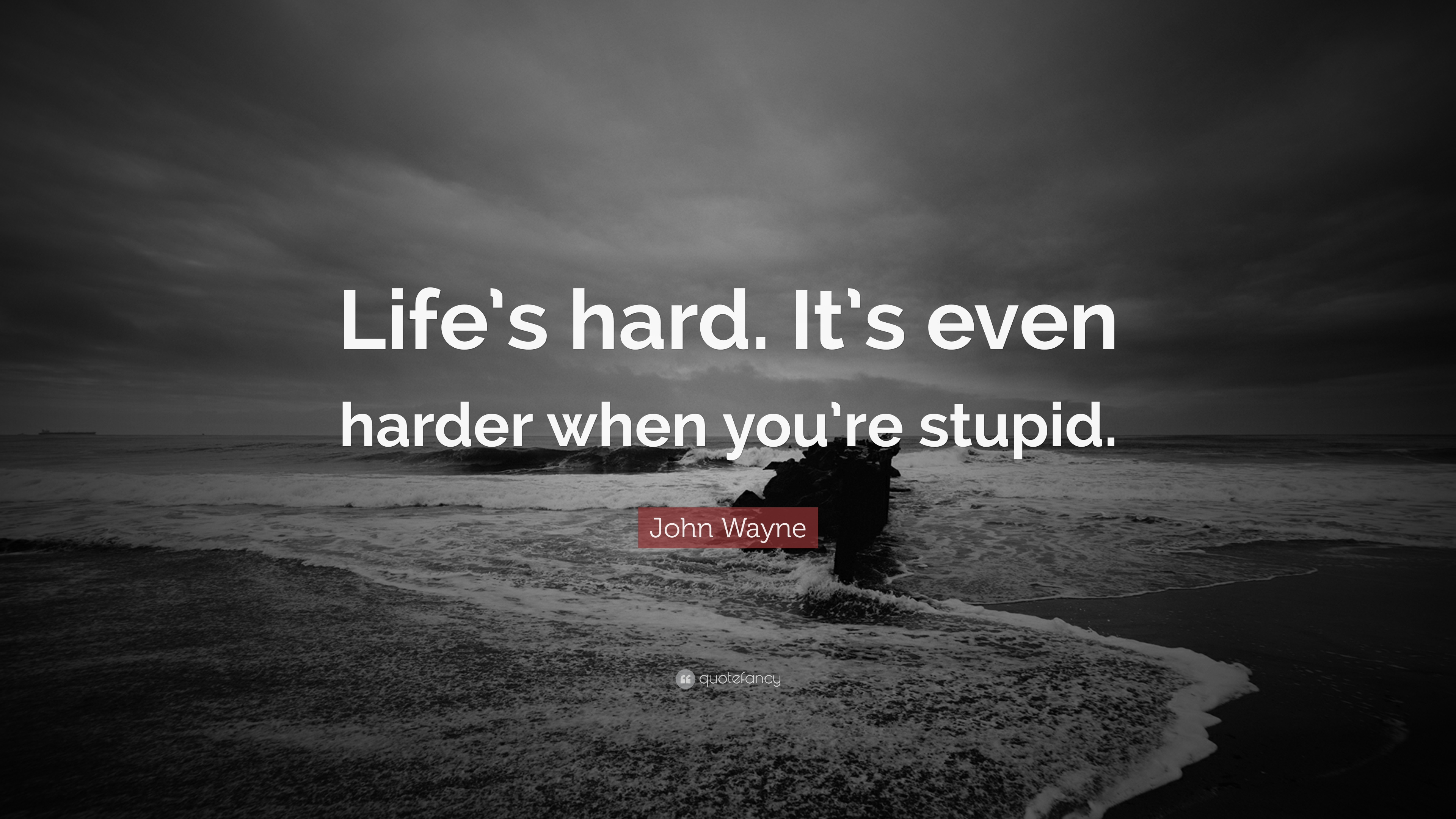Beautiful John Wayne Quote: U201cLifeu0027s Hard. Itu0027s Even Harder When Youu0027re Stupid