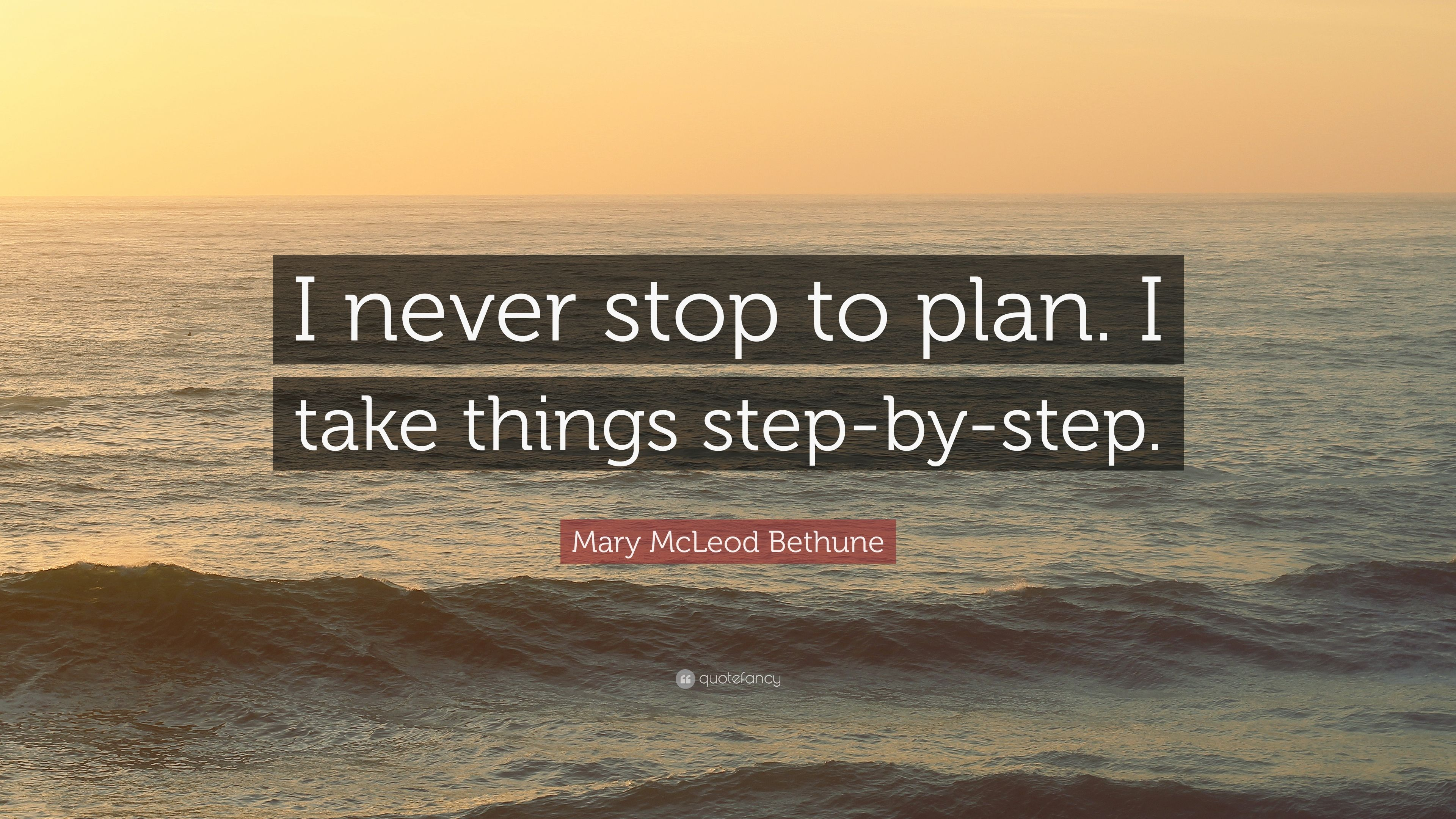 """Mary McLeod Bethune Quote: """"I Never Stop To Plan. I Take"""