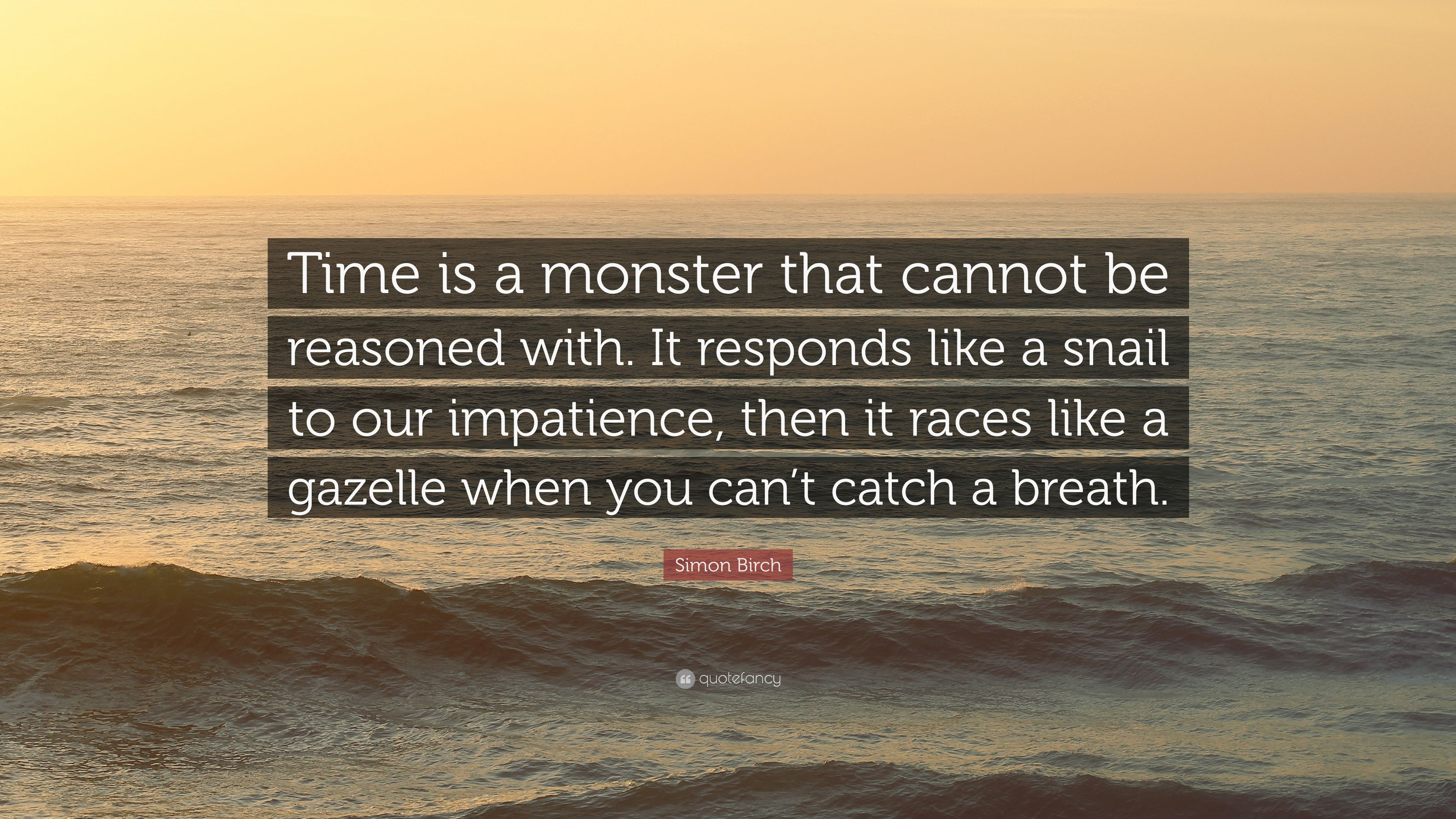 "Simon Birch Quote: ""Time Is A Monster That Cannot Be"