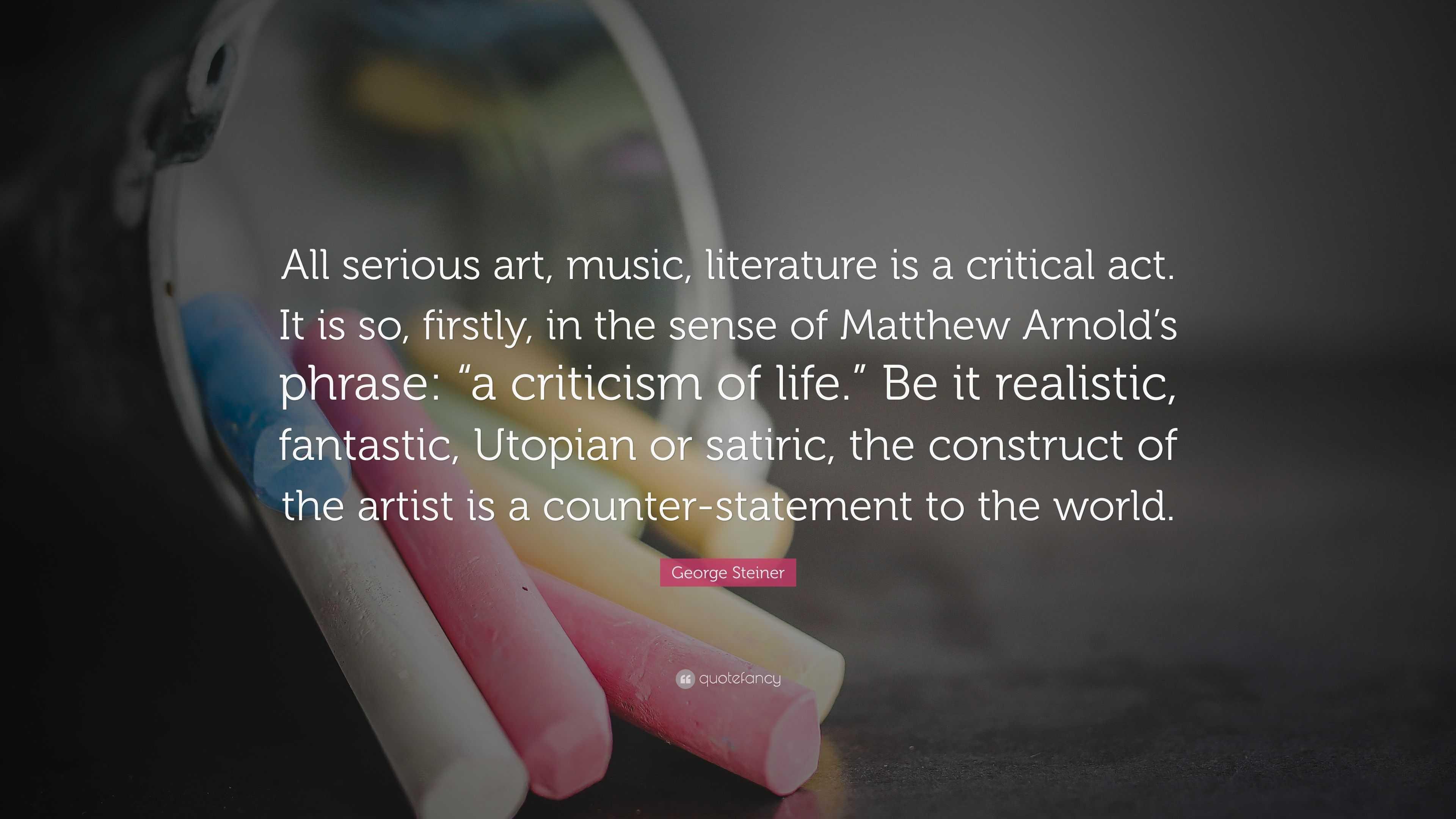 literature a criticism of life