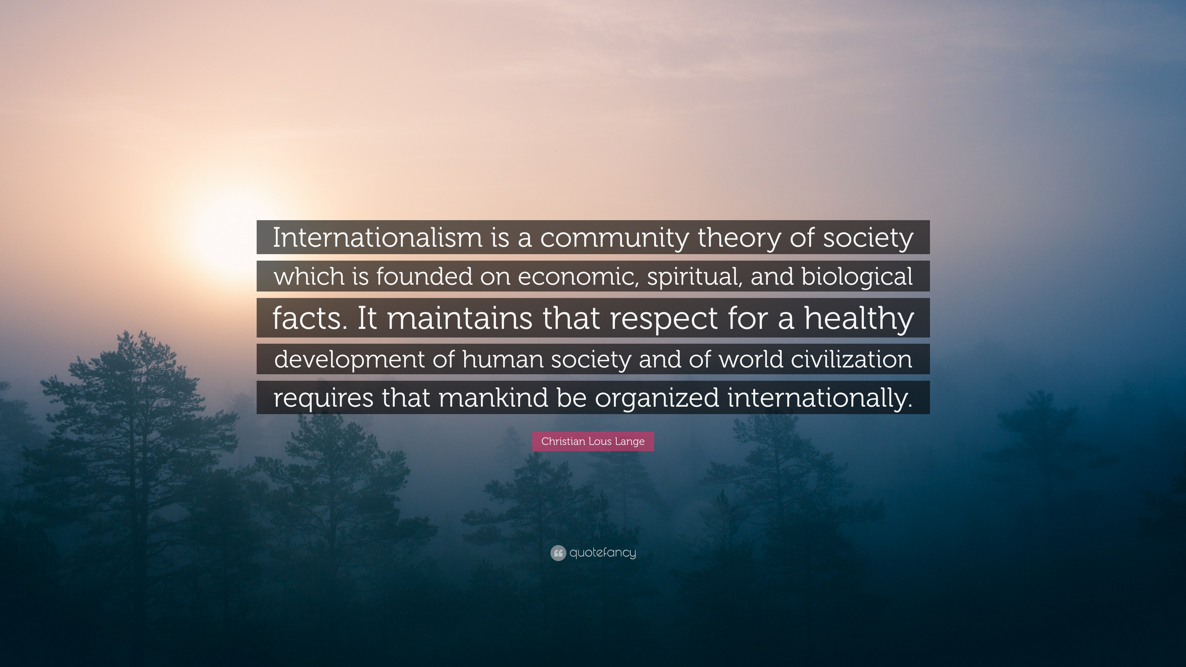 Christian Lous Lange Quote Internationalism Is A Community Theory