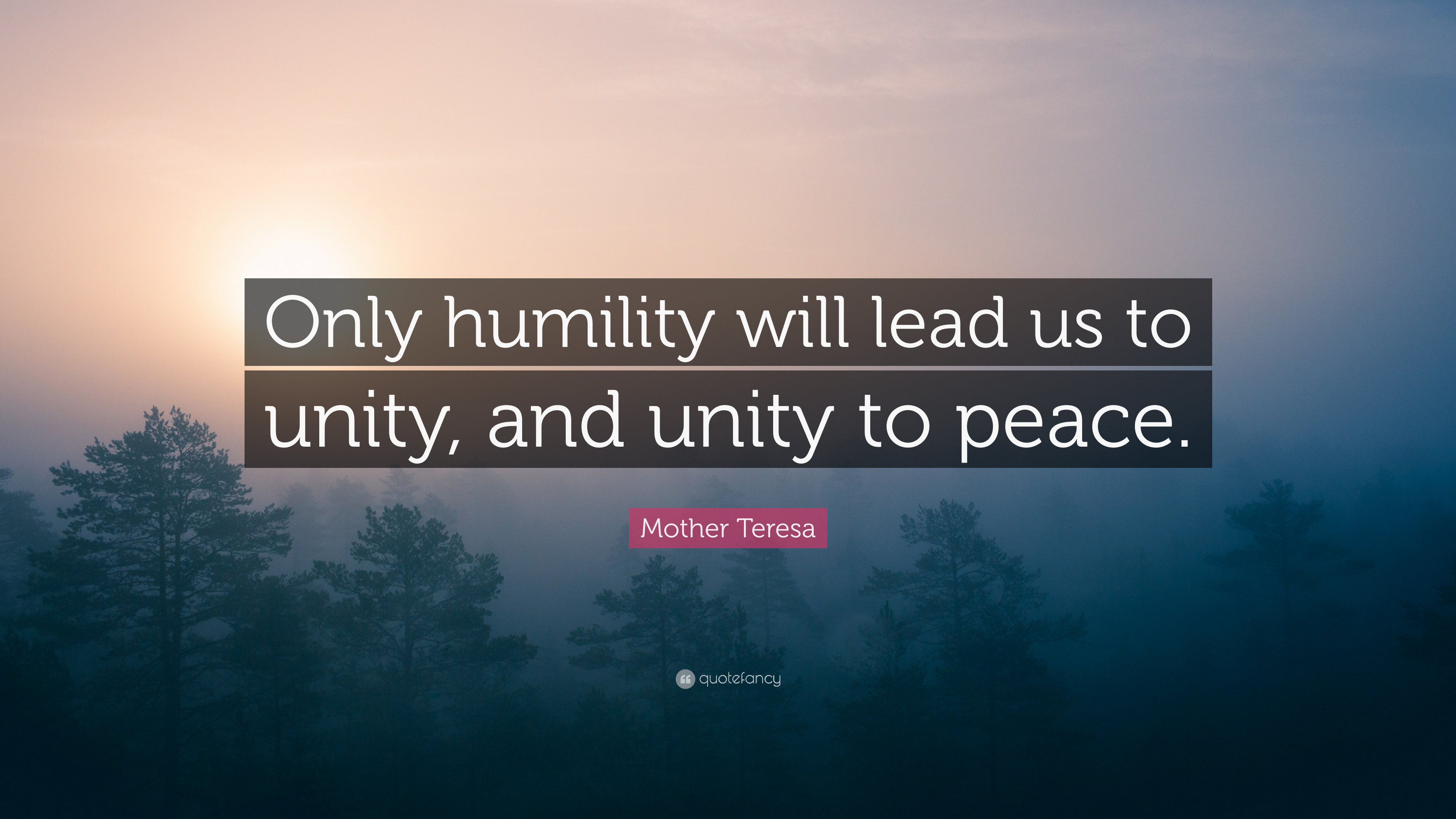 Mother Teresa Quote Only Humility Will Lead Us To Unity And Unity