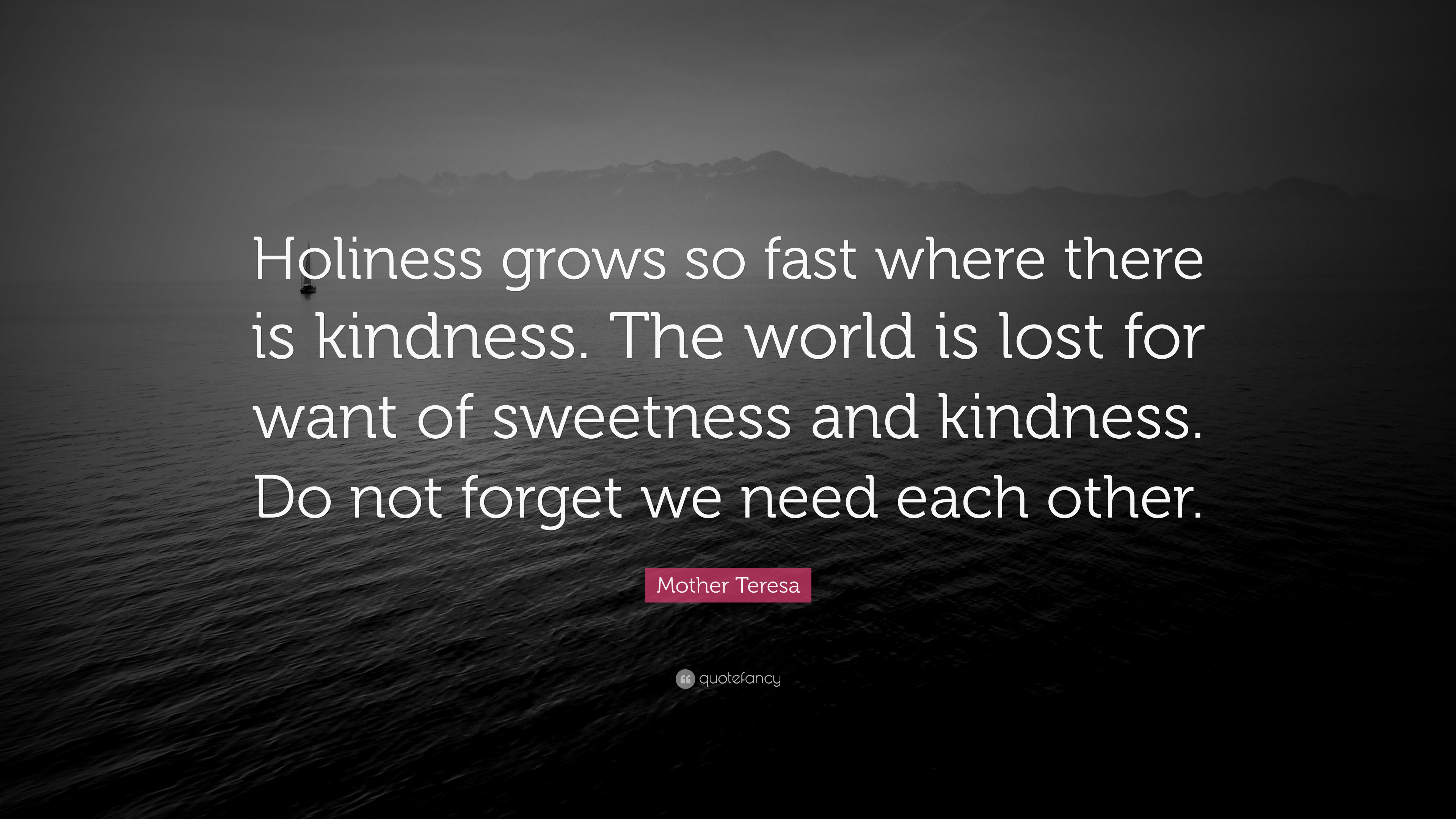 Mother Teresa Quote Holiness Grows So Fast Where There Is Kindness