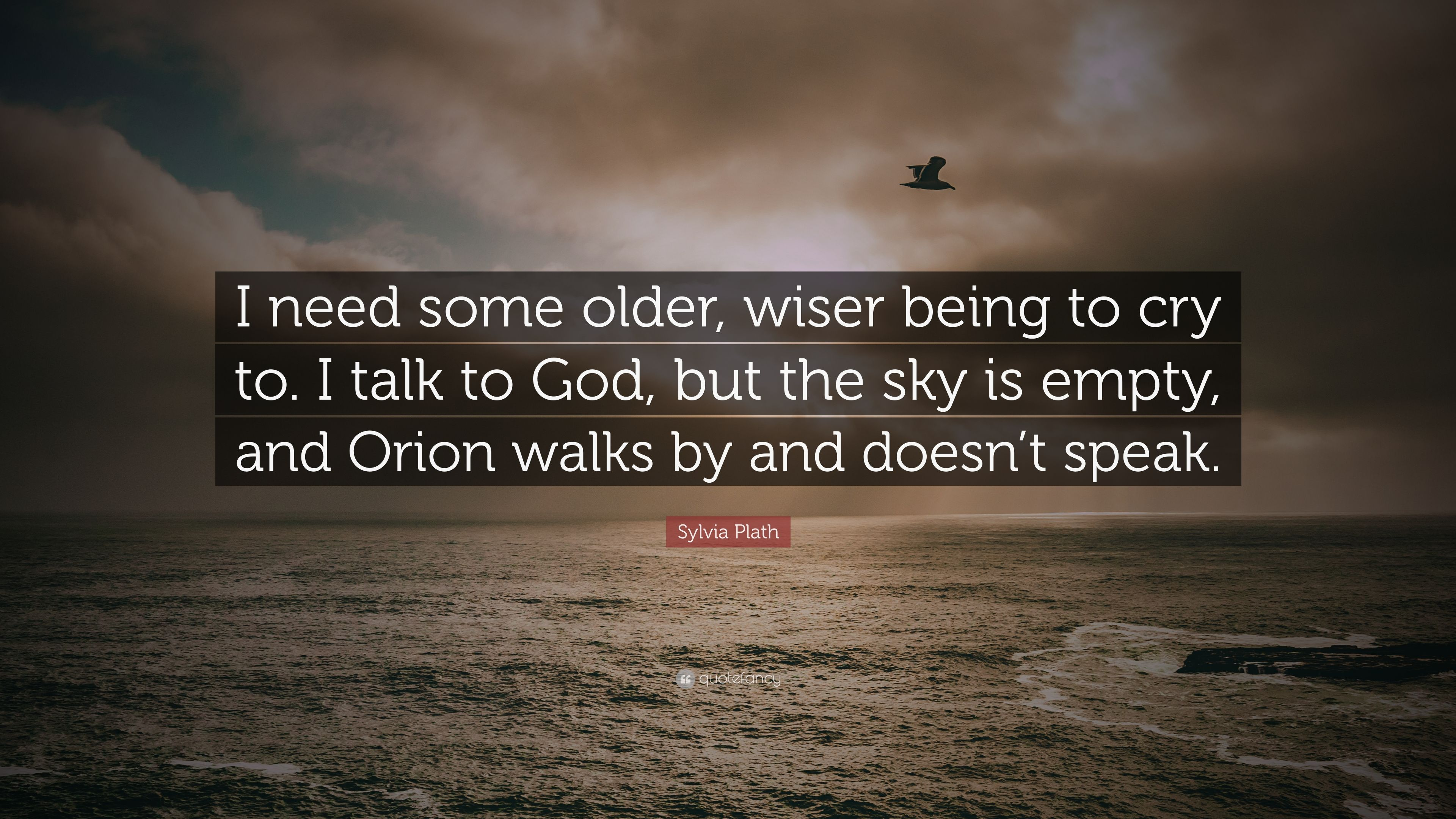 Sylvia Plath Quote I Need Some Older Wiser Being To Cry To I