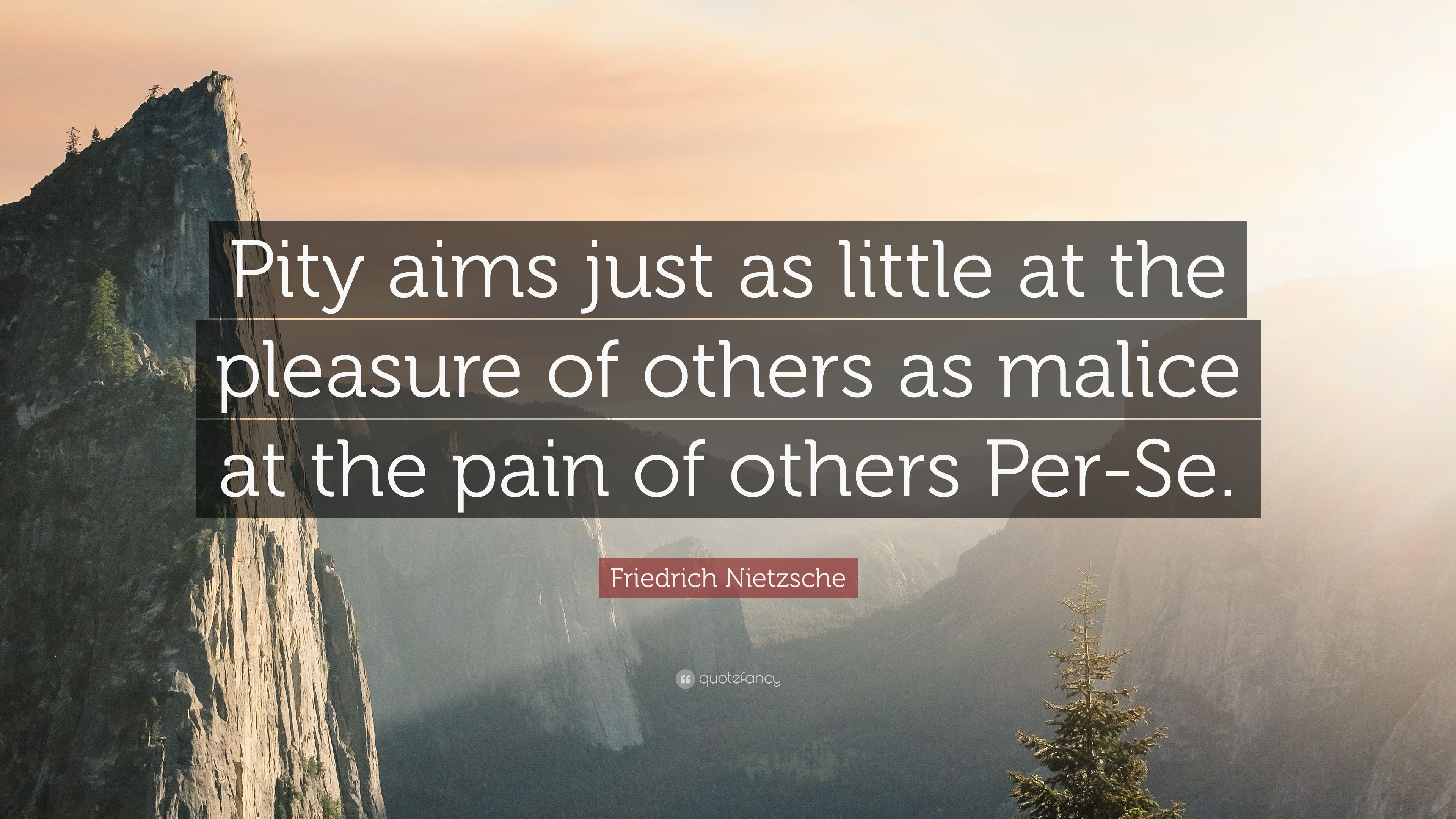 "Friedrich Nietzsche Quote: ""Pity aims just as little at the pleasure of  others as"