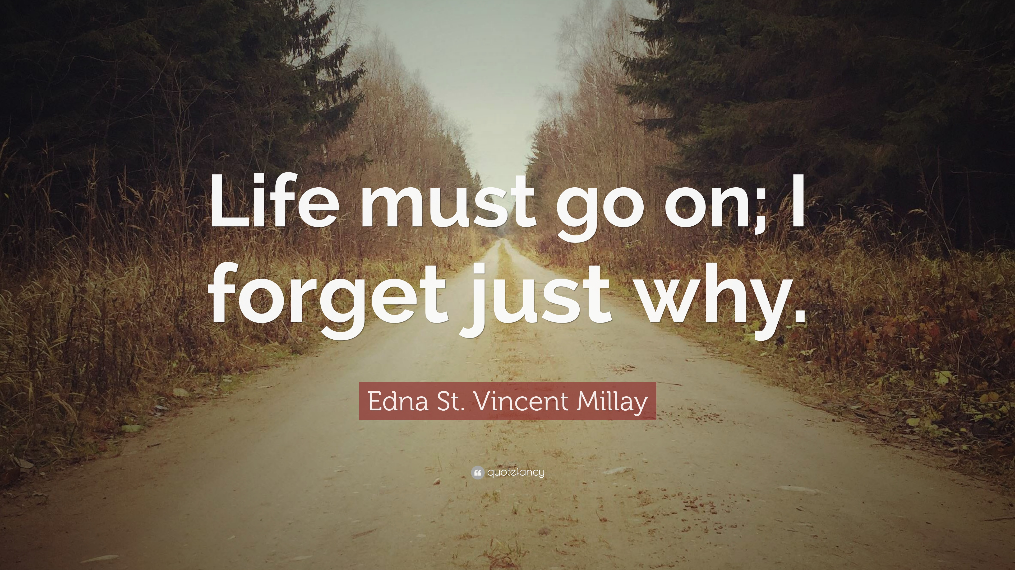 "Edna St. Vincent Millay Quote: ""Life Must Go On; I Forget"