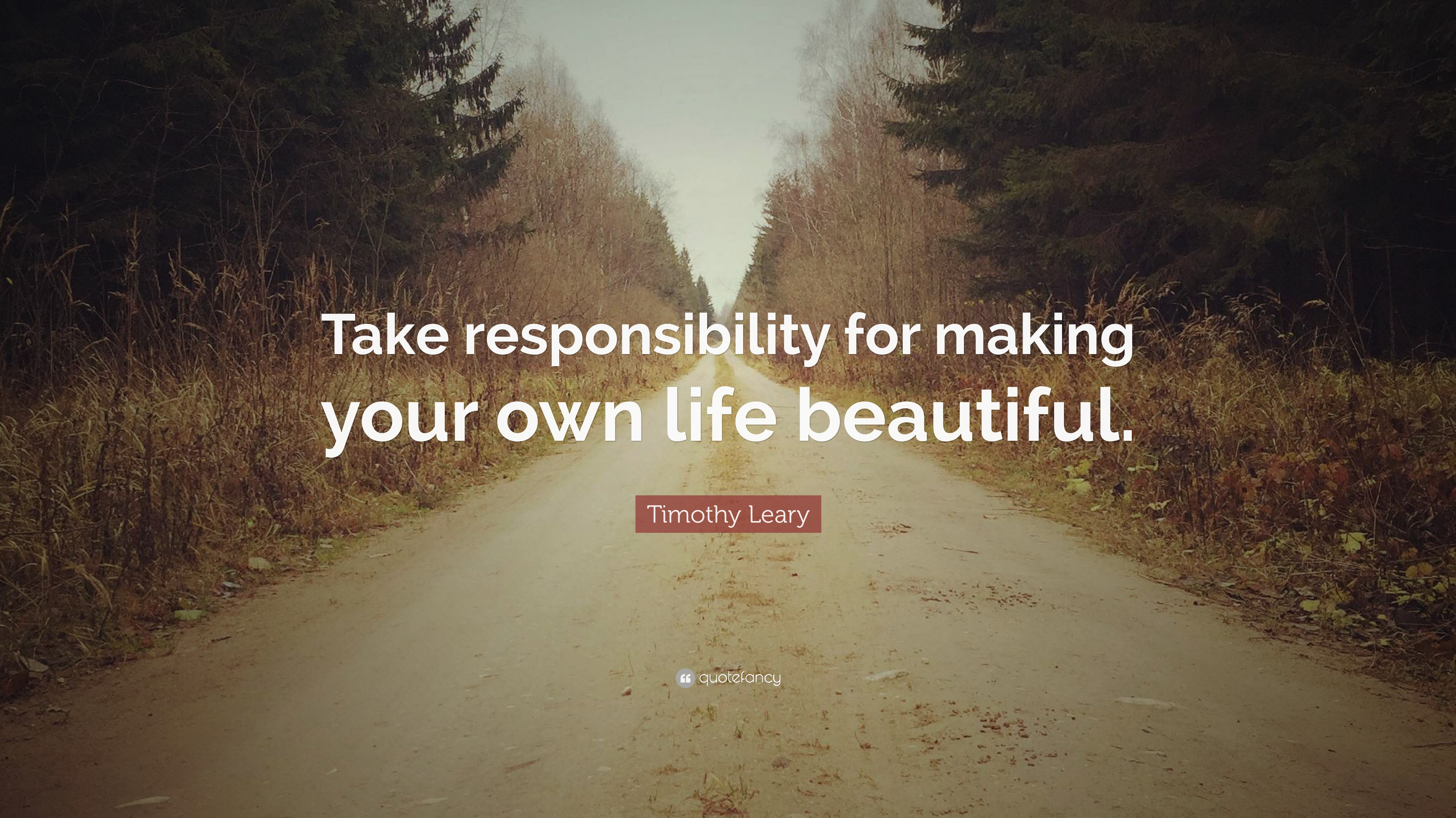 Timothy Leary Quote: U201cTake Responsibility For Making Your Own Life Beautiful .u201d
