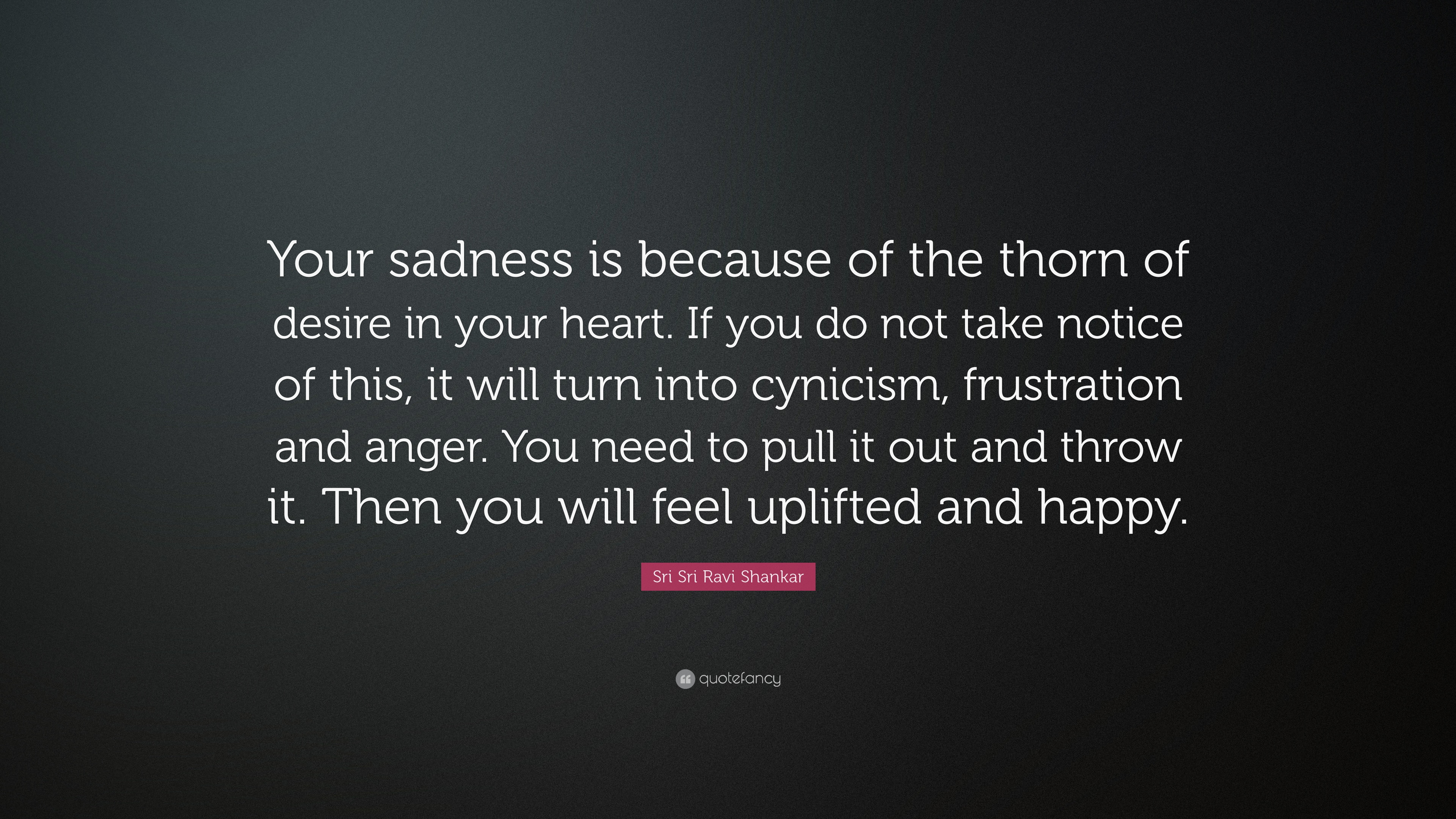 Sri Sri Ravi Shankar Quote Your Sadness Is Because Of The Thorn Of