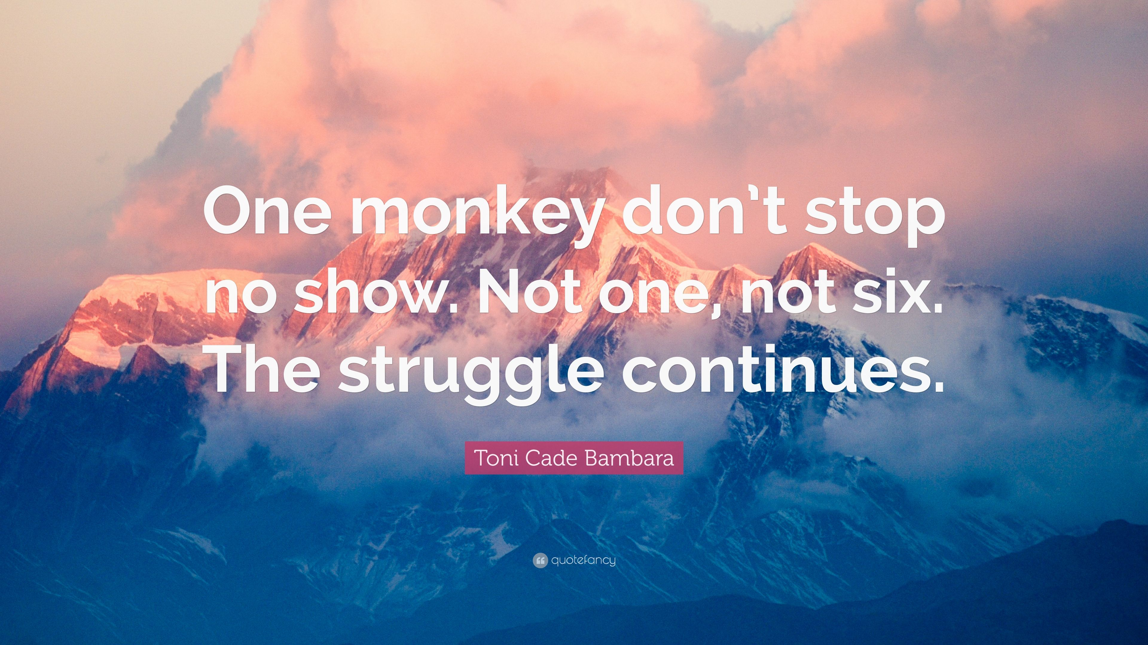 Toni Cade Bambara Quote One Monkey Dont Stop No Show Not One