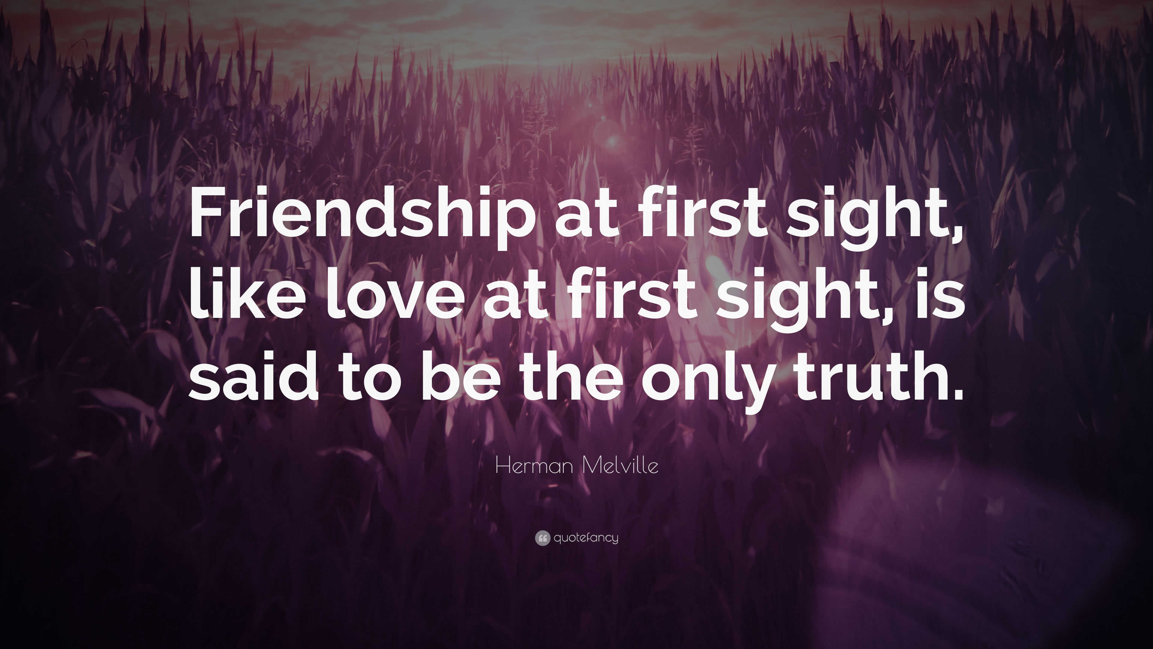 "Herman Melville Quote ""Friendship at first sight like love at first sight"
