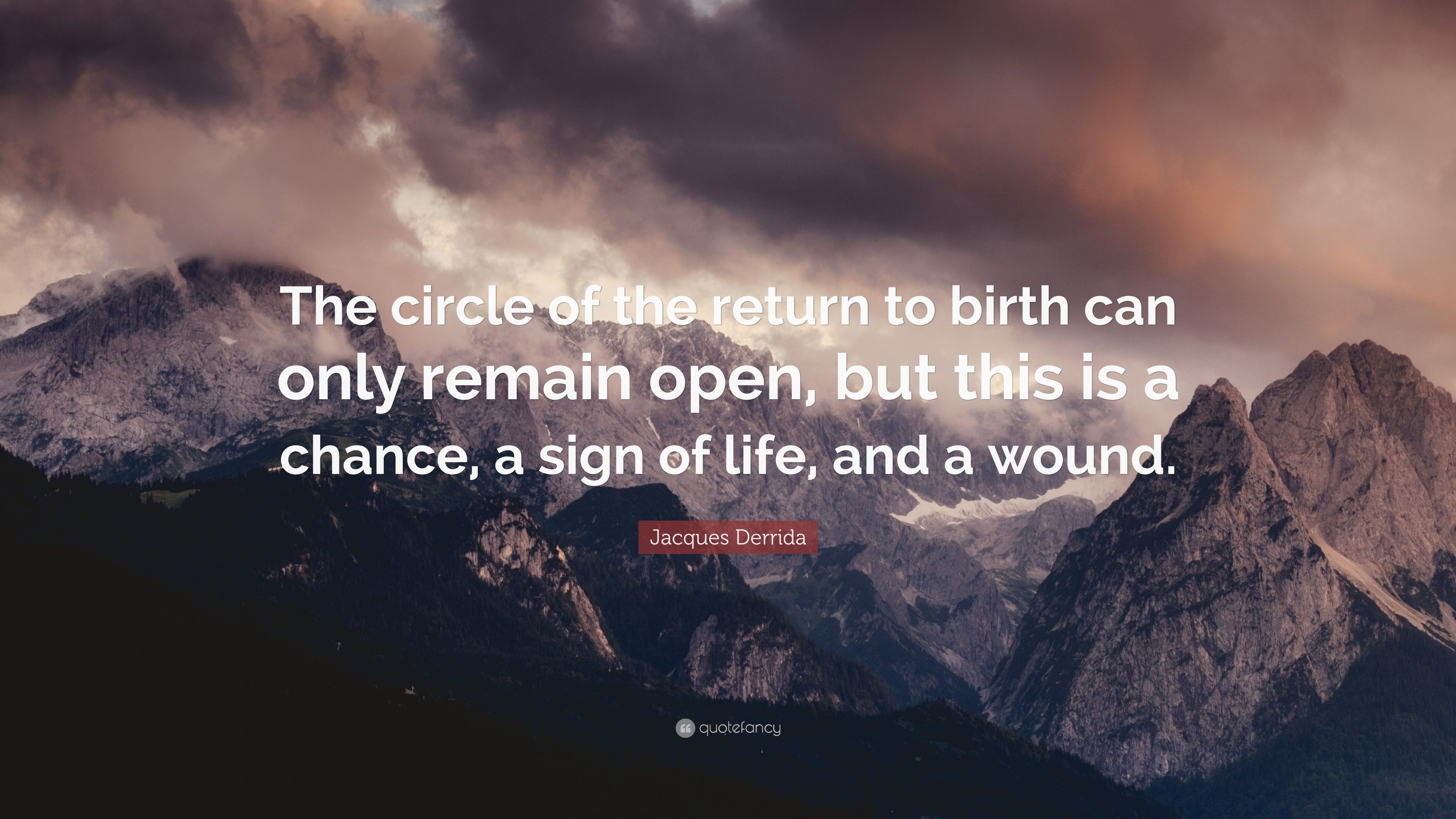 Jacques Derrida Quote The Circle Of The Return To Birth Can Only