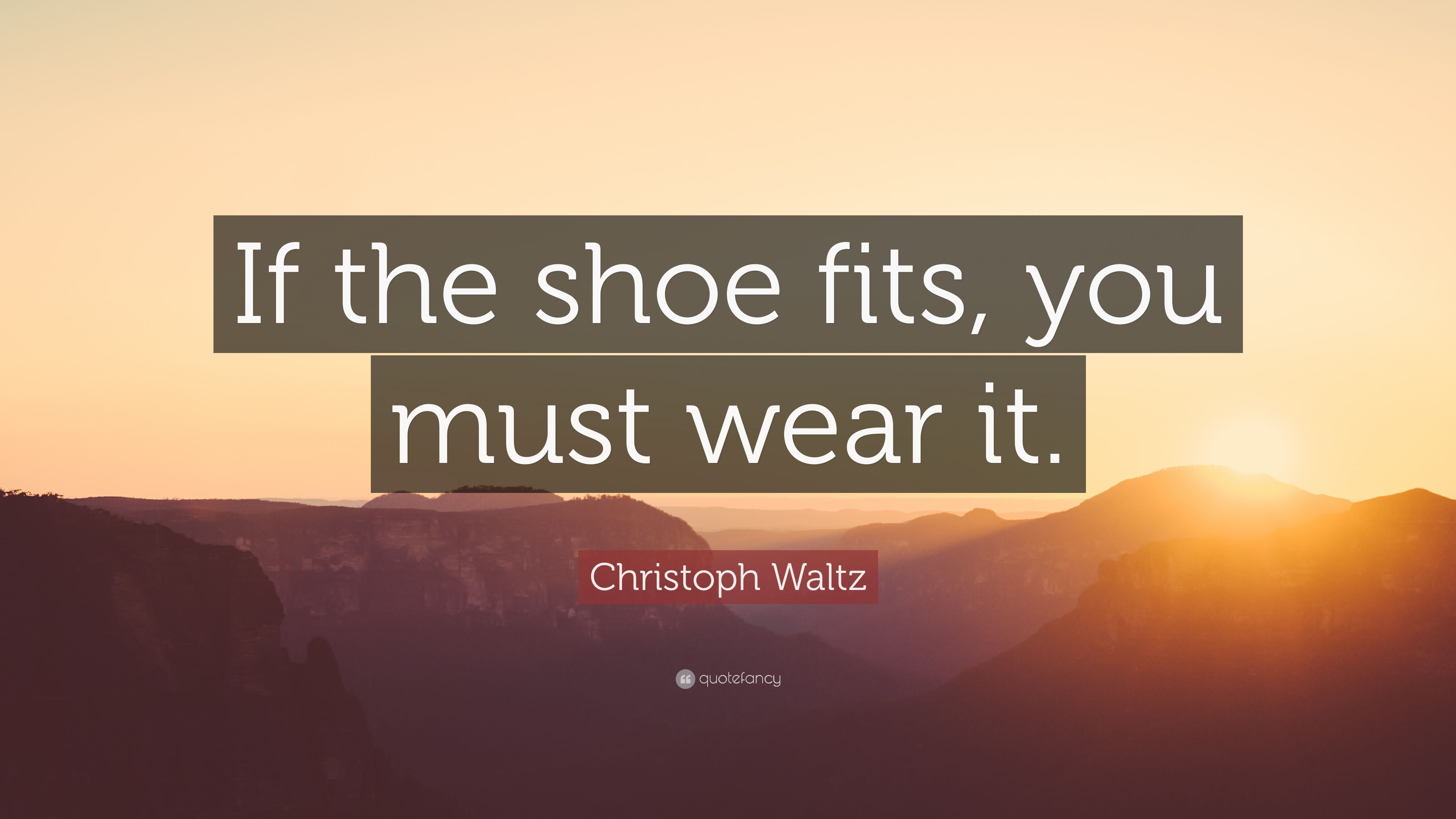 Christoph Waltz Quote If The Shoe Fits You Must Wear It 7