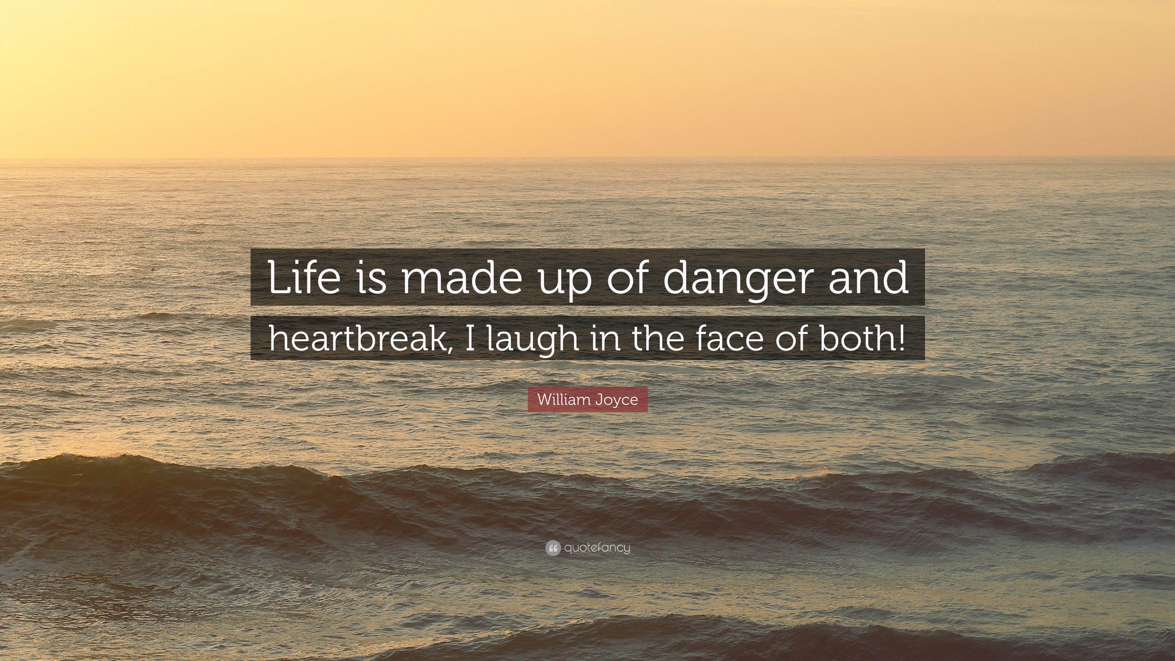 "I Laugh In The Face Of Danger Quote: William Joyce Quote: ""Life Is Made Up Of Danger And"