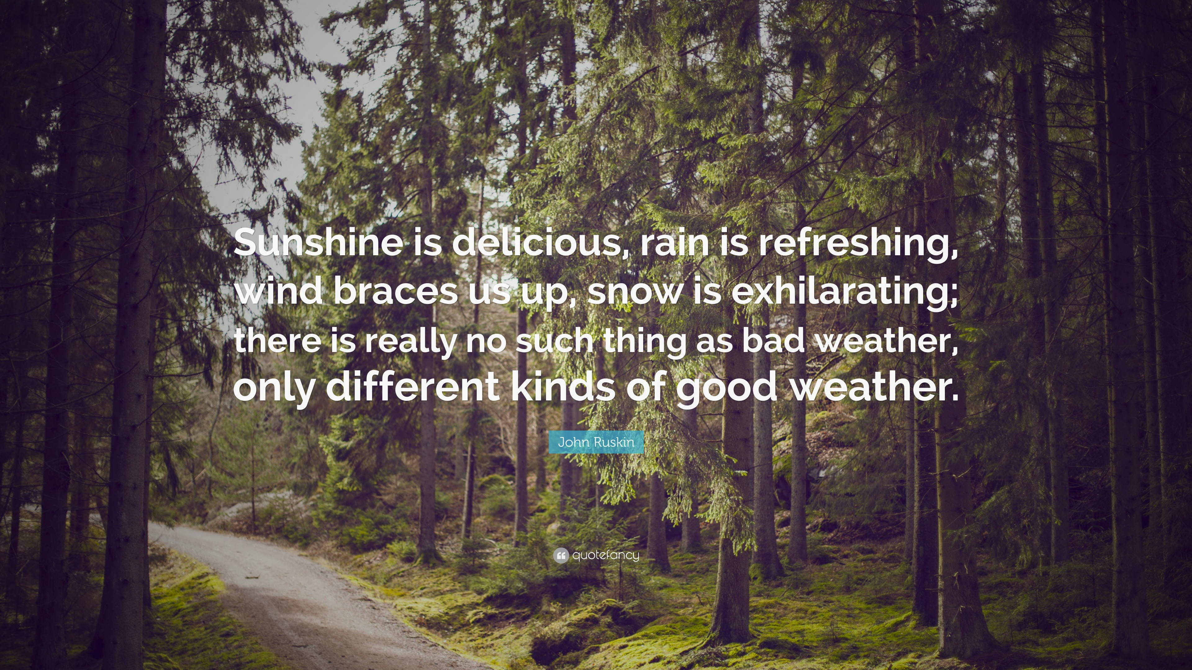 """448a30119e4 John Ruskin Quote: """"Sunshine is delicious, rain is refreshing, wind braces  us"""