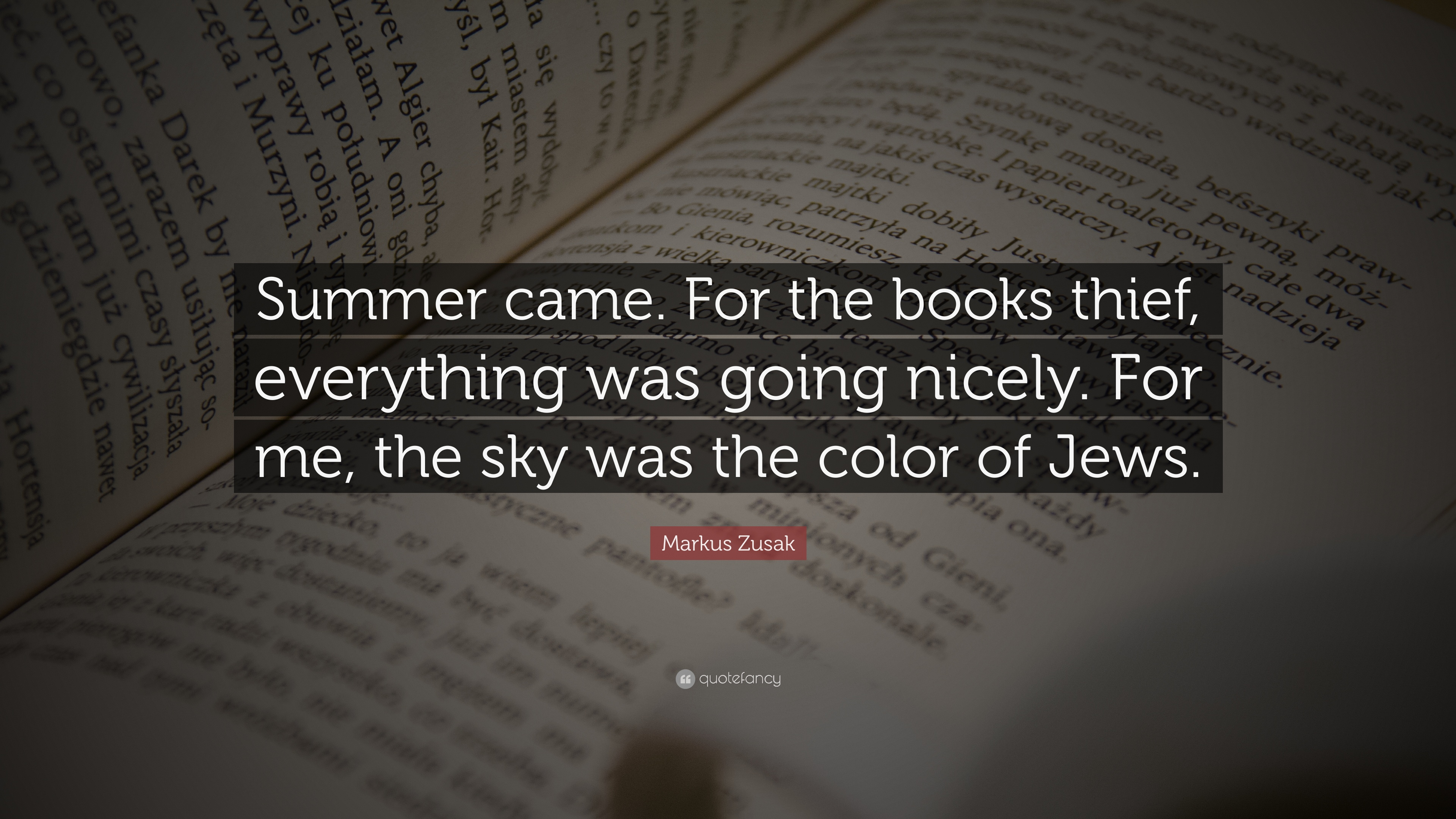 """Markus Zusak Quote: """"Summer came. For the books thief, everything ..."""