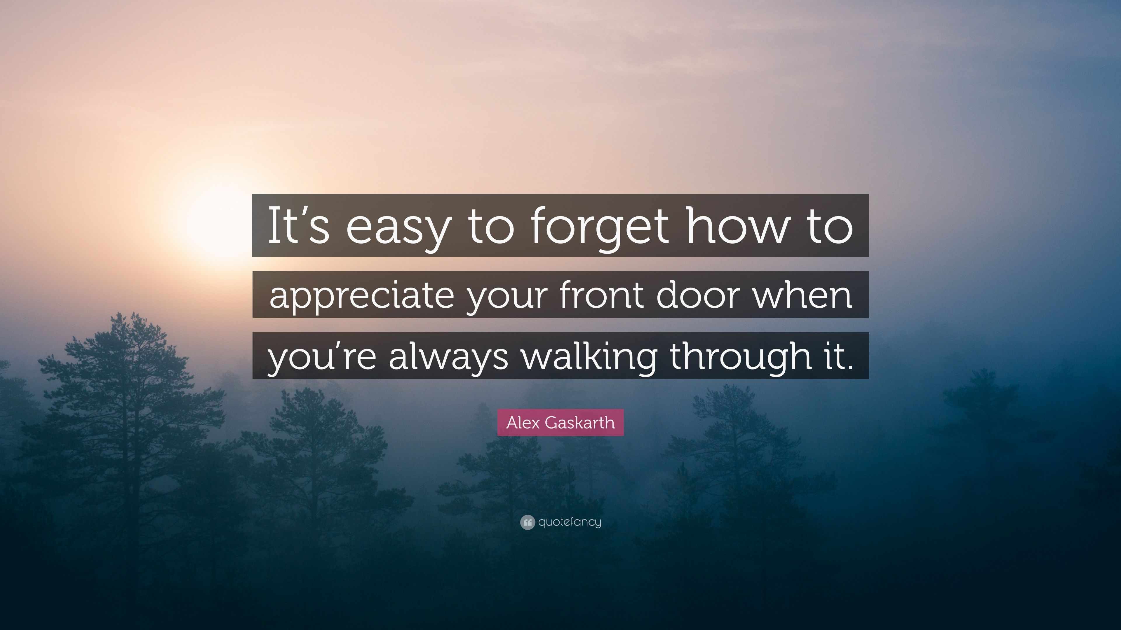 Alex Gaskarth Quote Its easy to forget how to appreciate your