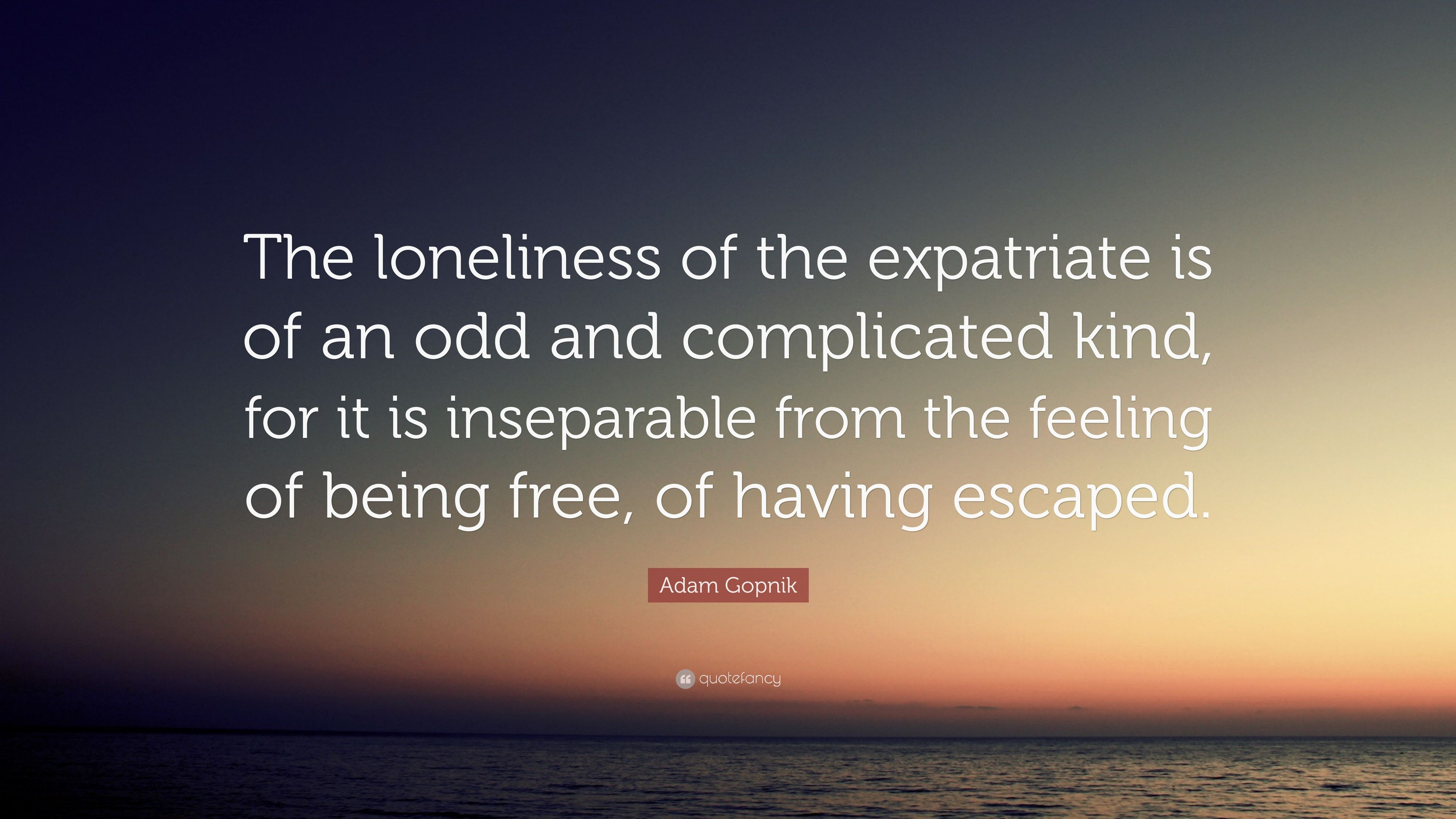 Adam Gopnik Quote The Loneliness Of The Expatriate Is Of An Odd