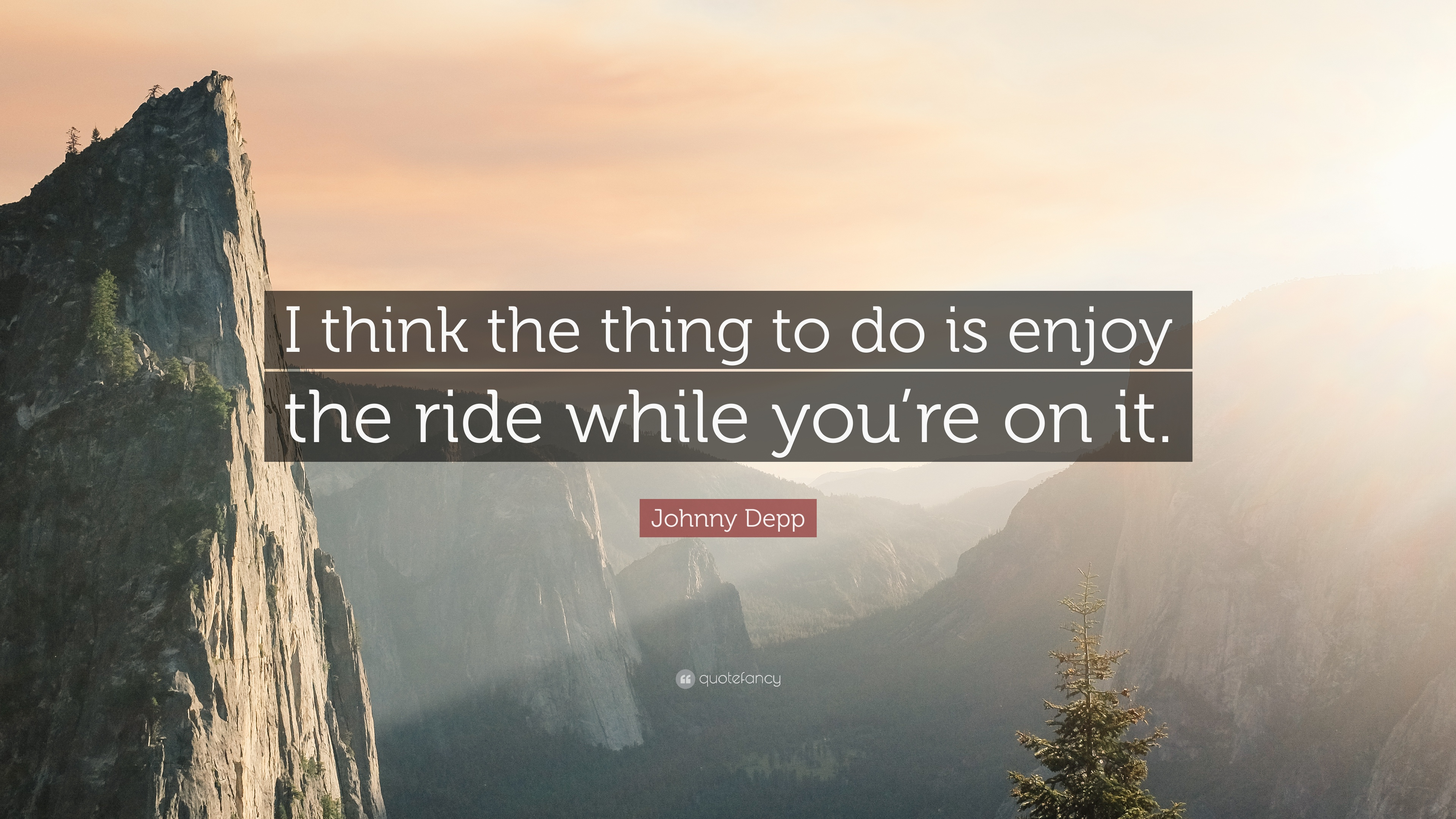 """Johnny Depp Quote: """"I think the thing to do is enjoy the ..."""