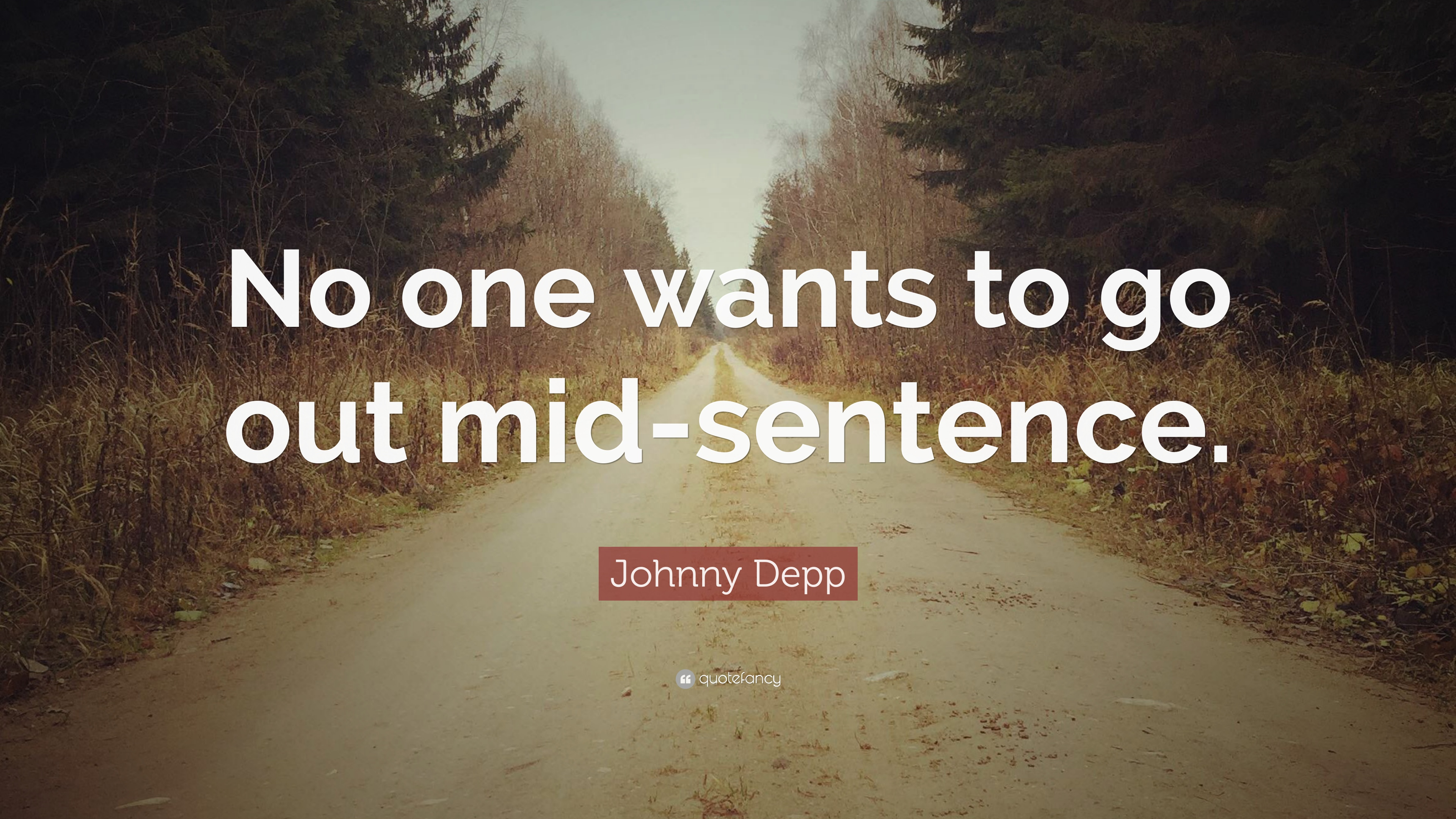 """One Sentence Love Quotes Johnny Depp Quote """"No One Wants To Go Out Midsentence."""" 7"""