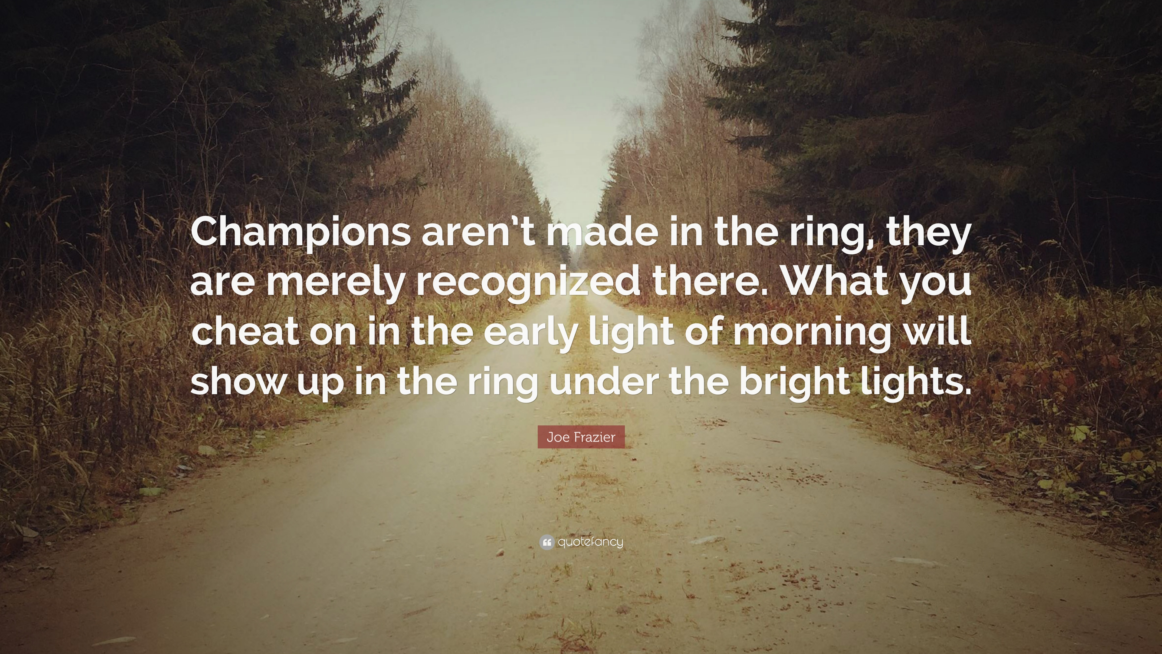 """Joe Frazier Quote: """"Champions aren't made in the ring, they are"""