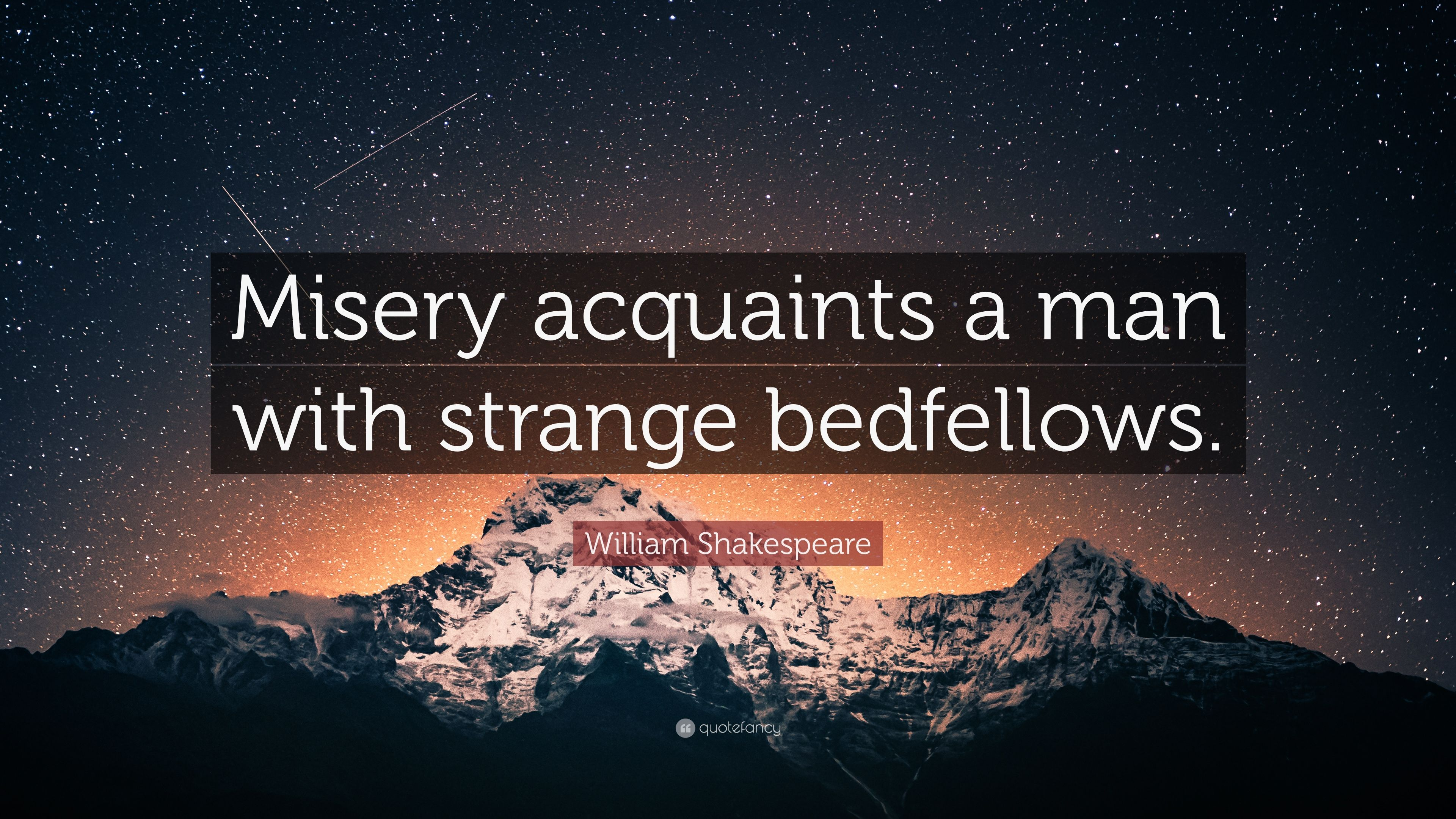 misery acquaints a man with strange bedfellows