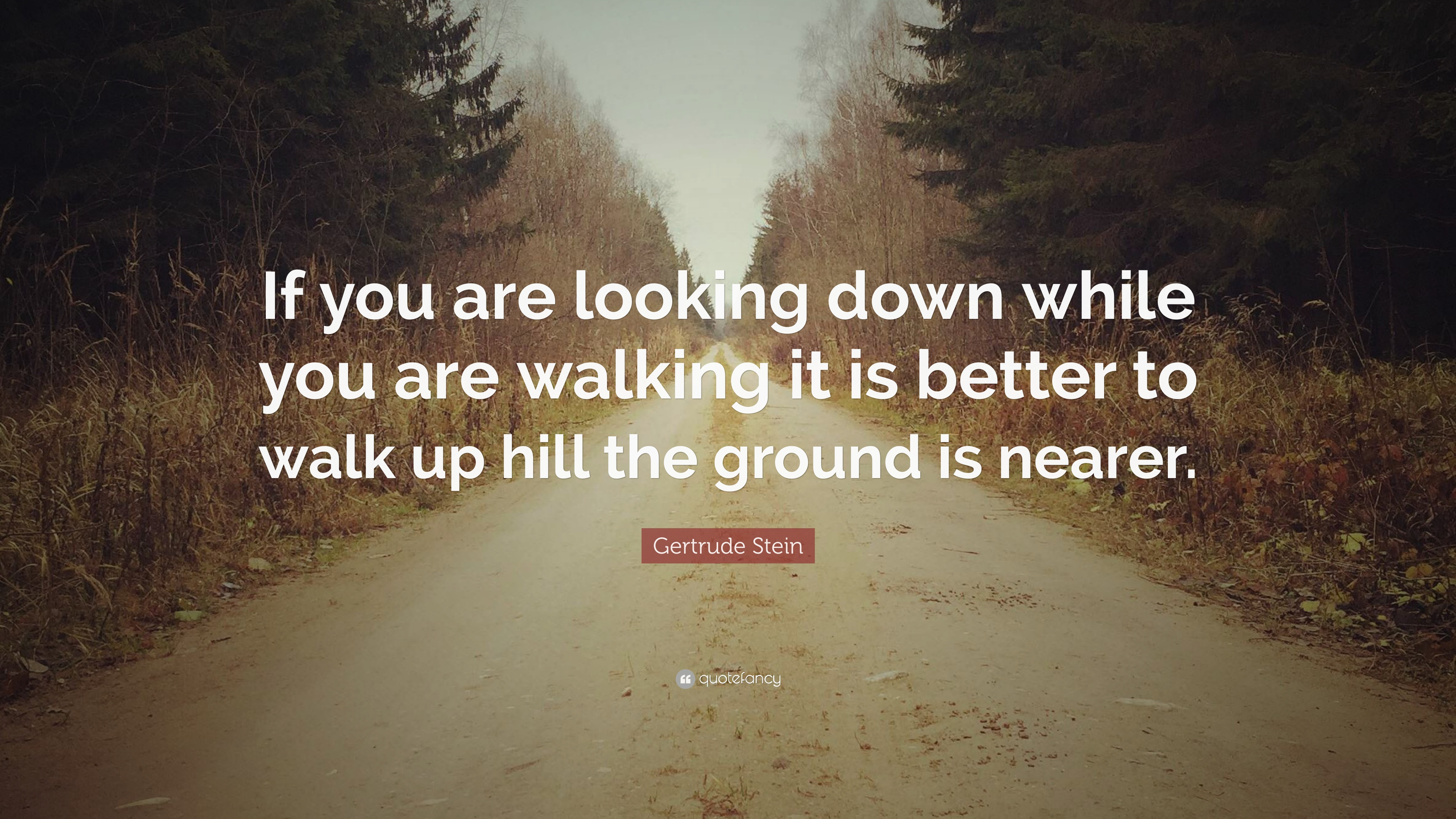 Gertrude Stein Quote If You Are Looking Down While You Are Walking