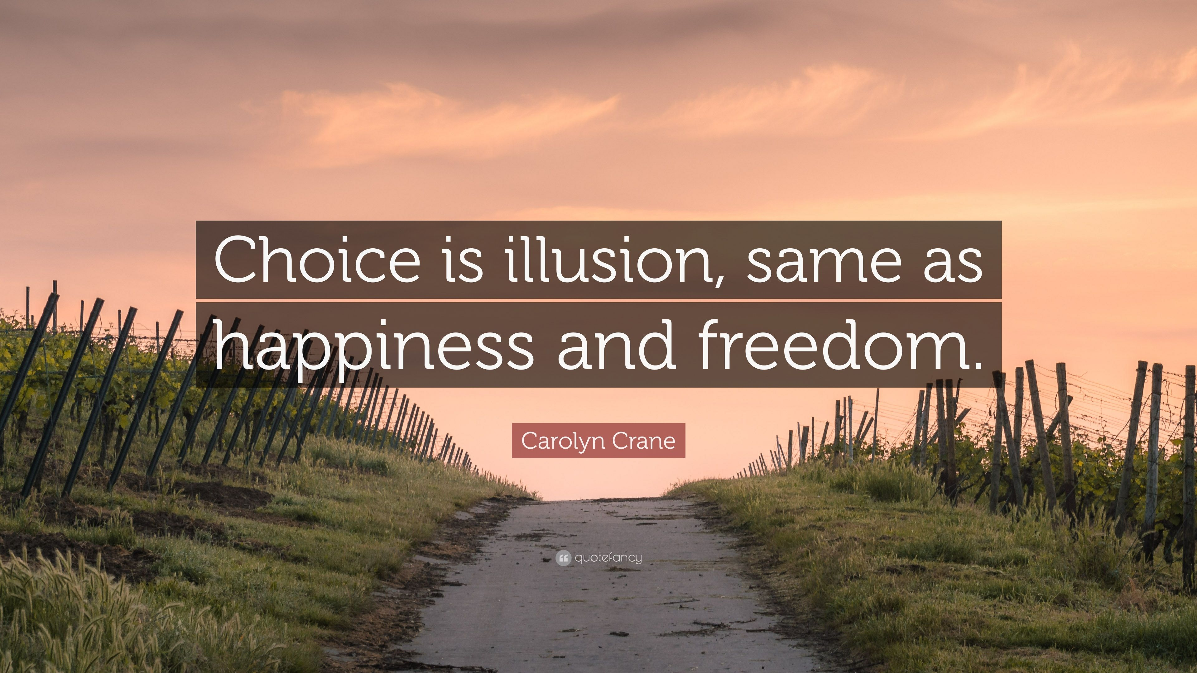 Carolyn Crane Quote Choice Is Illusion Same As Happiness And
