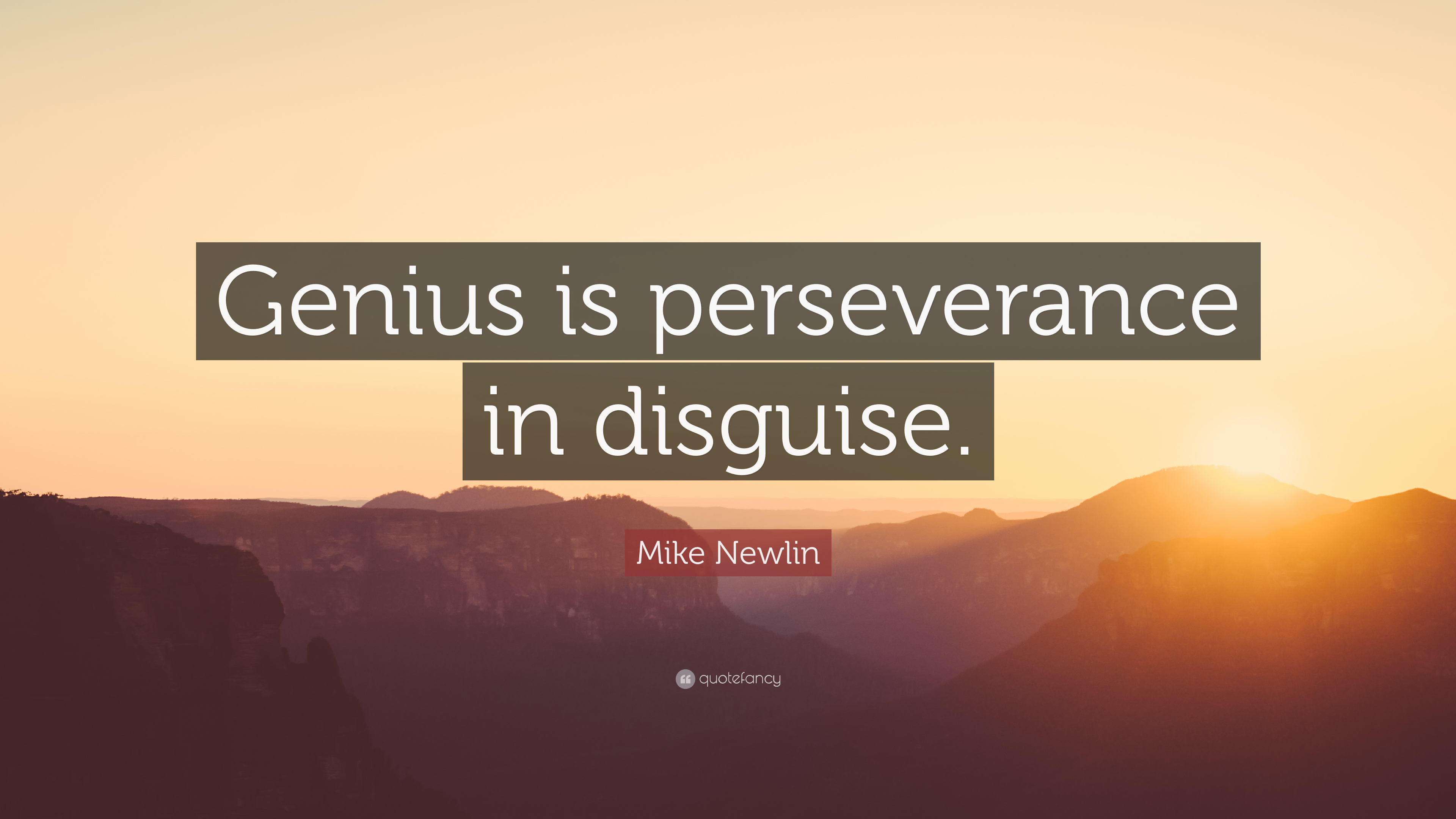 """Mike Newlin Quote """"Genius is perseverance in disguise """" 10"""