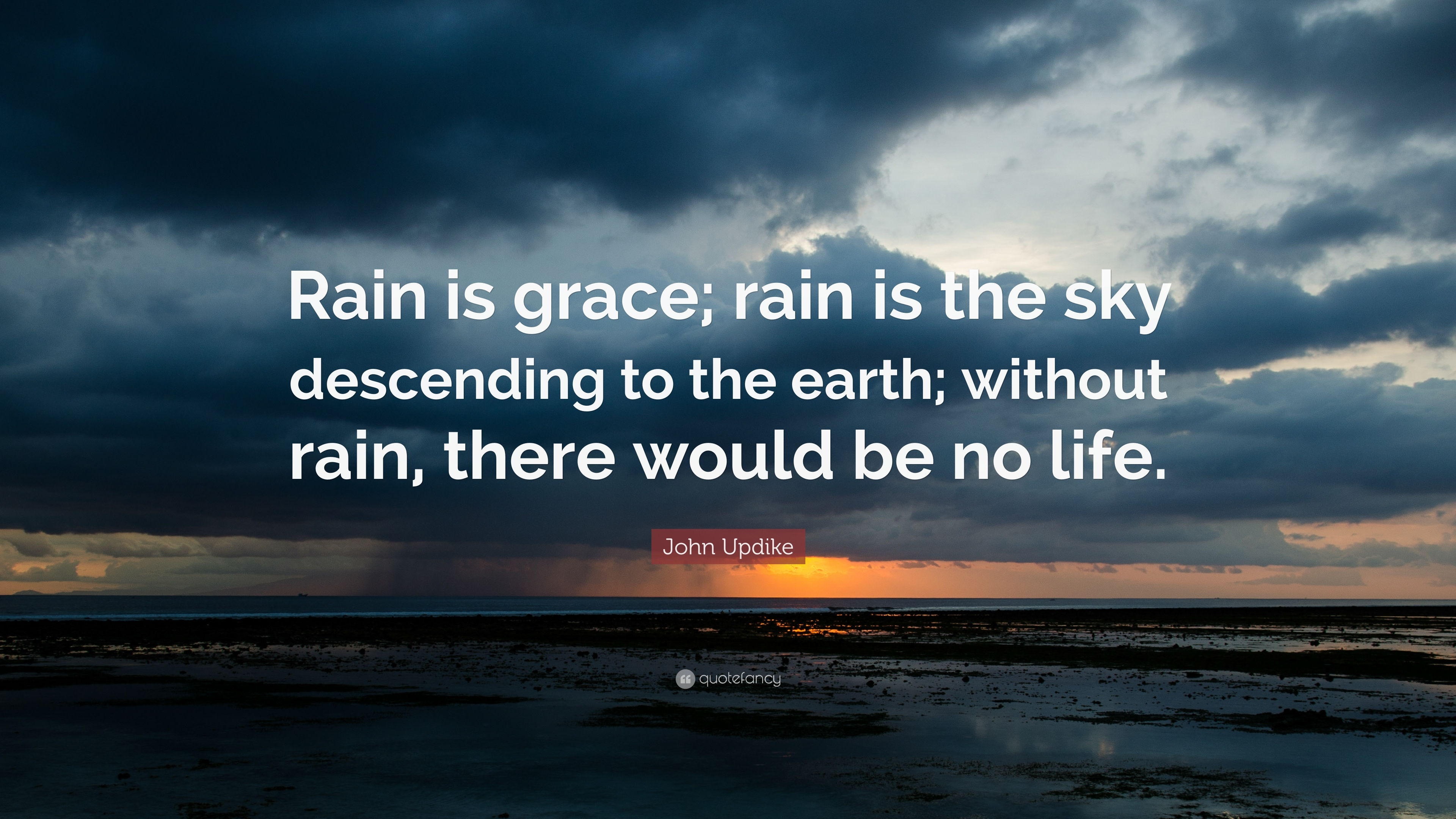 John Updike Quote Rain Is Grace Rain Is The Sky Descending To The