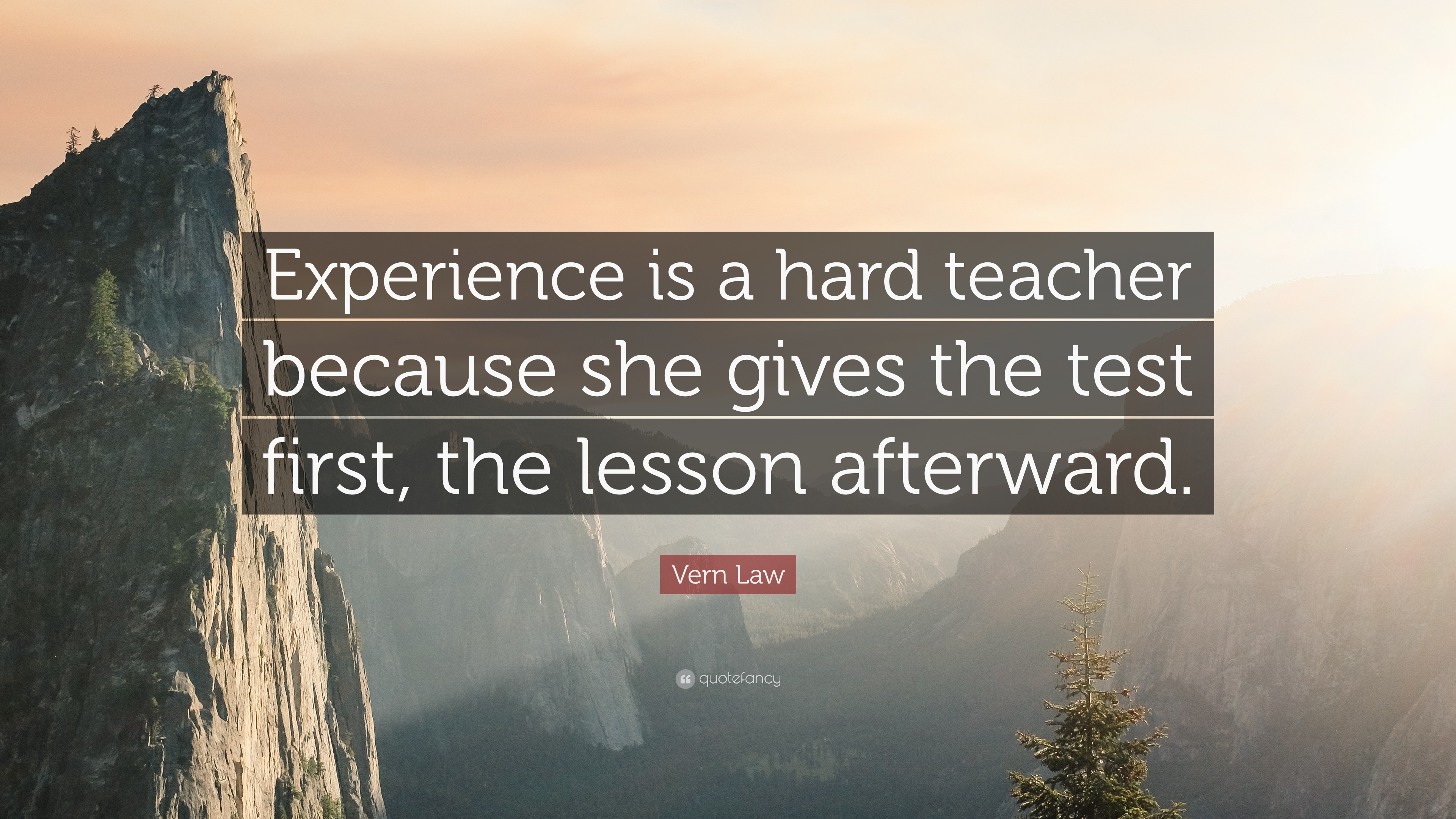 "vern law quote ""experience is a hard teacher because she gives"