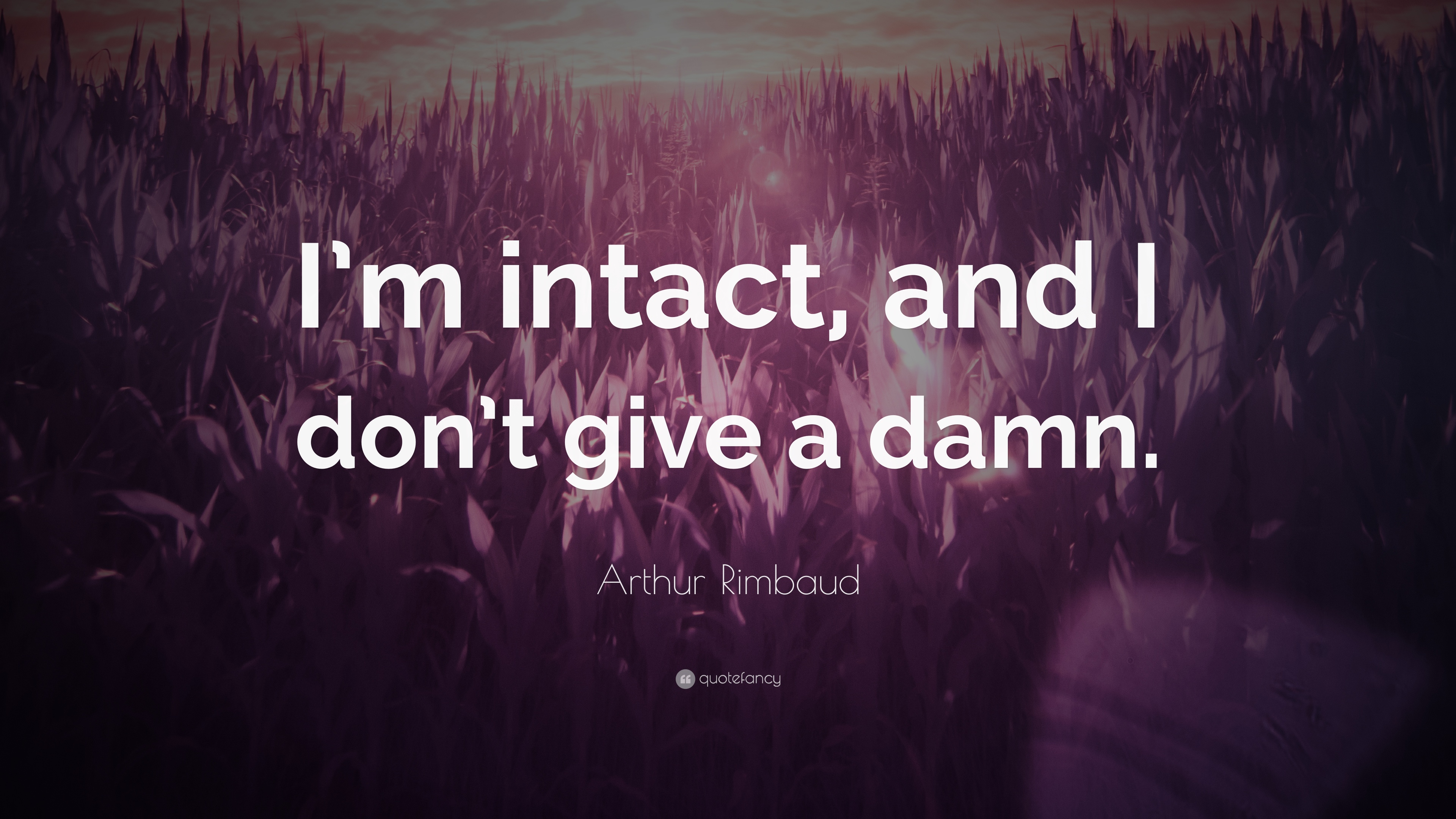 "Arthur Rimbaud Quote: ""I'm Intact, And I Don't Give A Damn"
