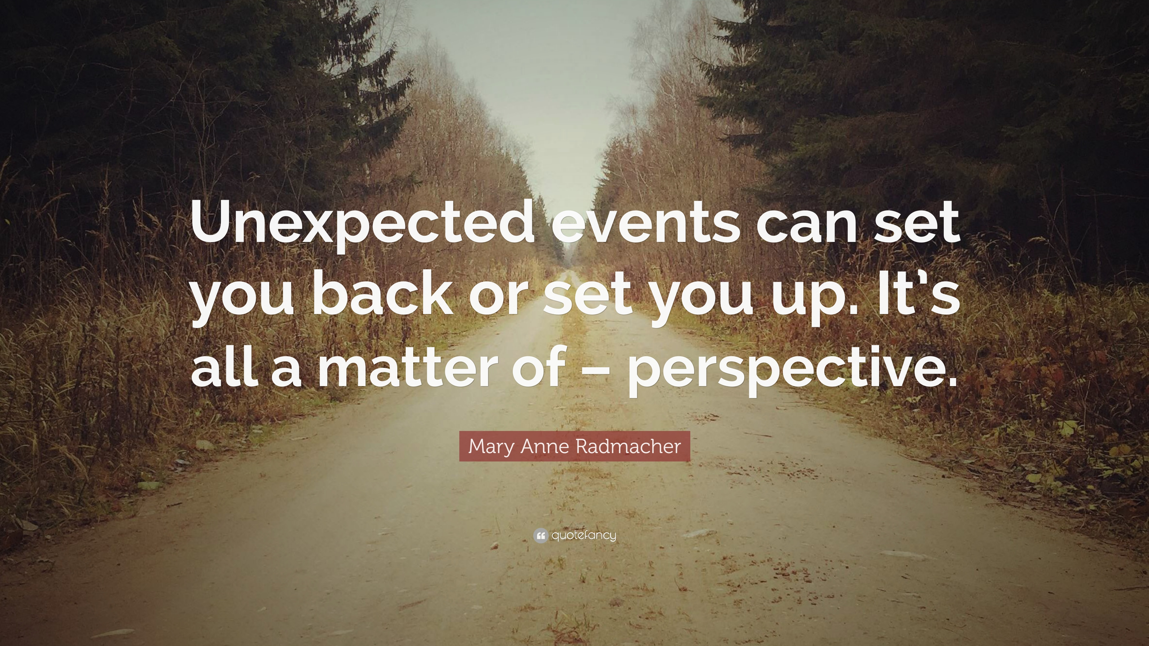 Mary Anne Radmacher Quote Unexpected Events Can Set You Back Or
