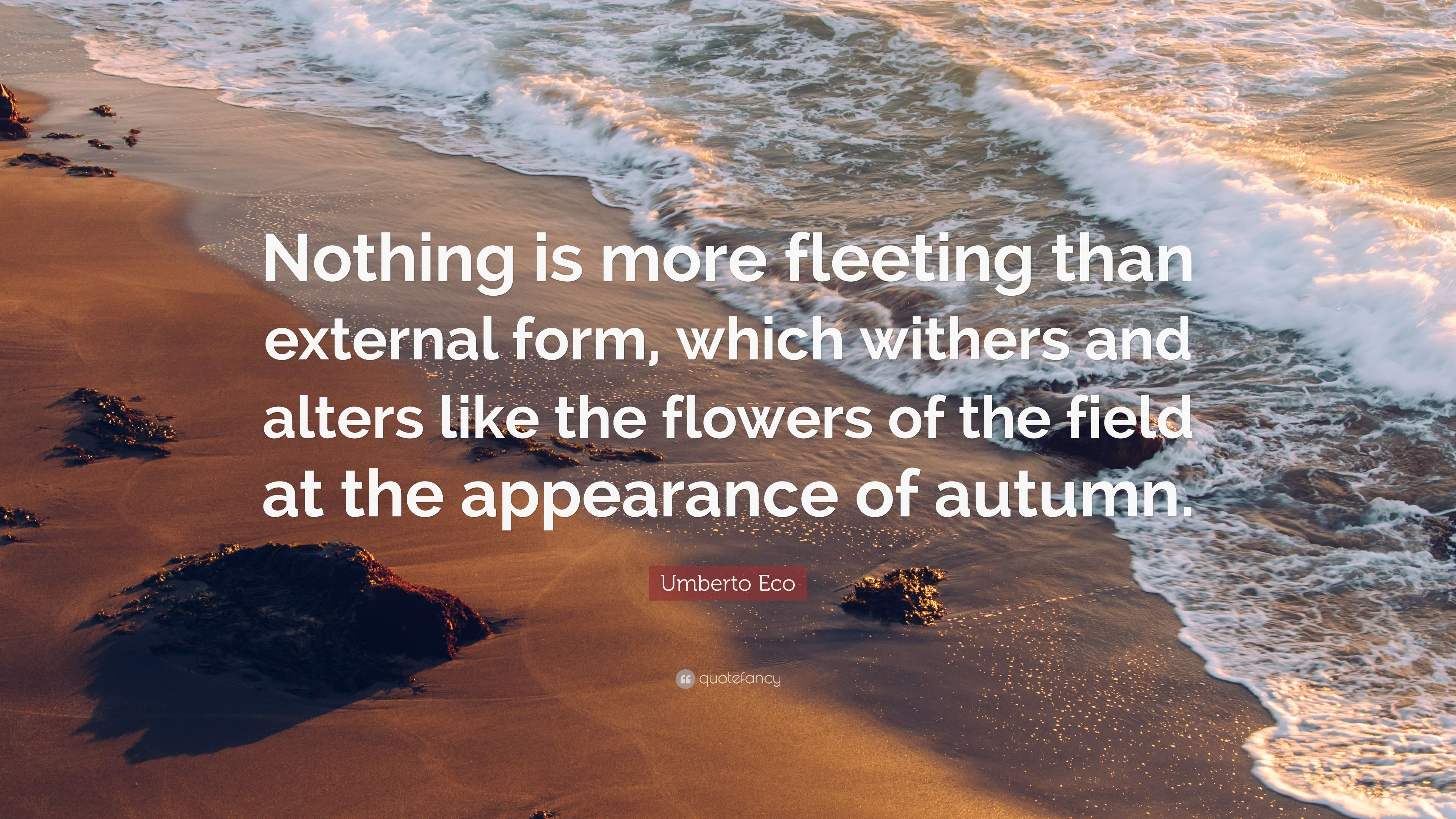 Marvelous Umberto Eco Quote: U201cNothing Is More Fleeting Than External Form, Which  Withers And