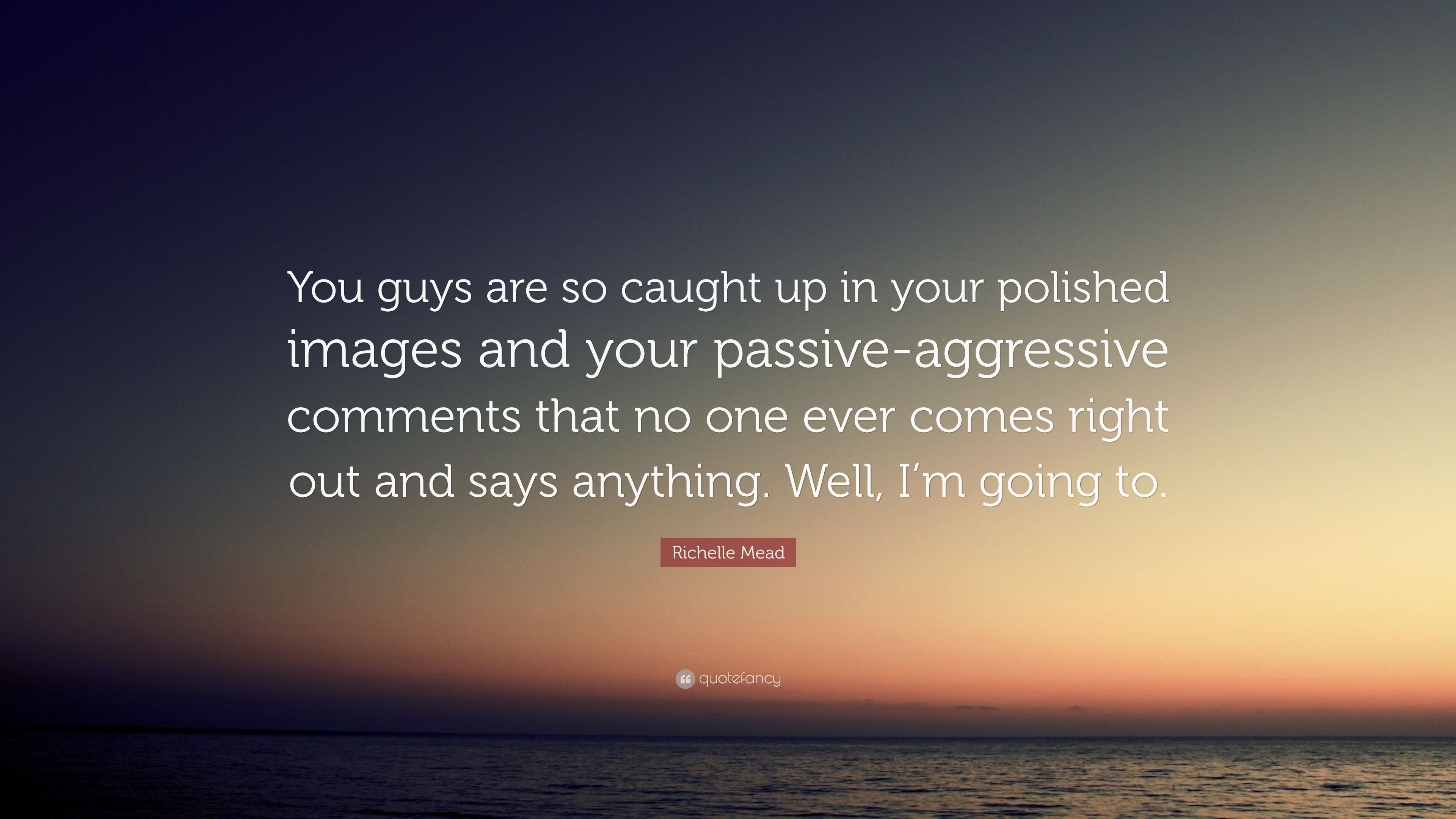 """Richelle Mead Quote: """"You guys are so caught up in your"""
