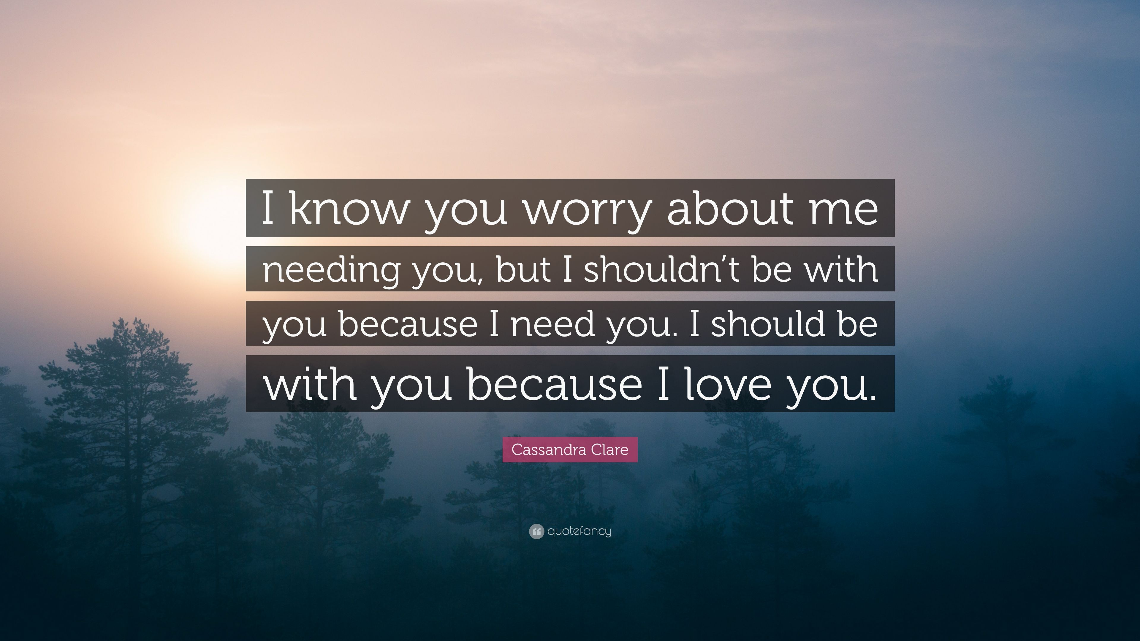 """Because You Loved Me Quotes: Cassandra Clare Quote: """"I Know You Worry About Me Needing"""