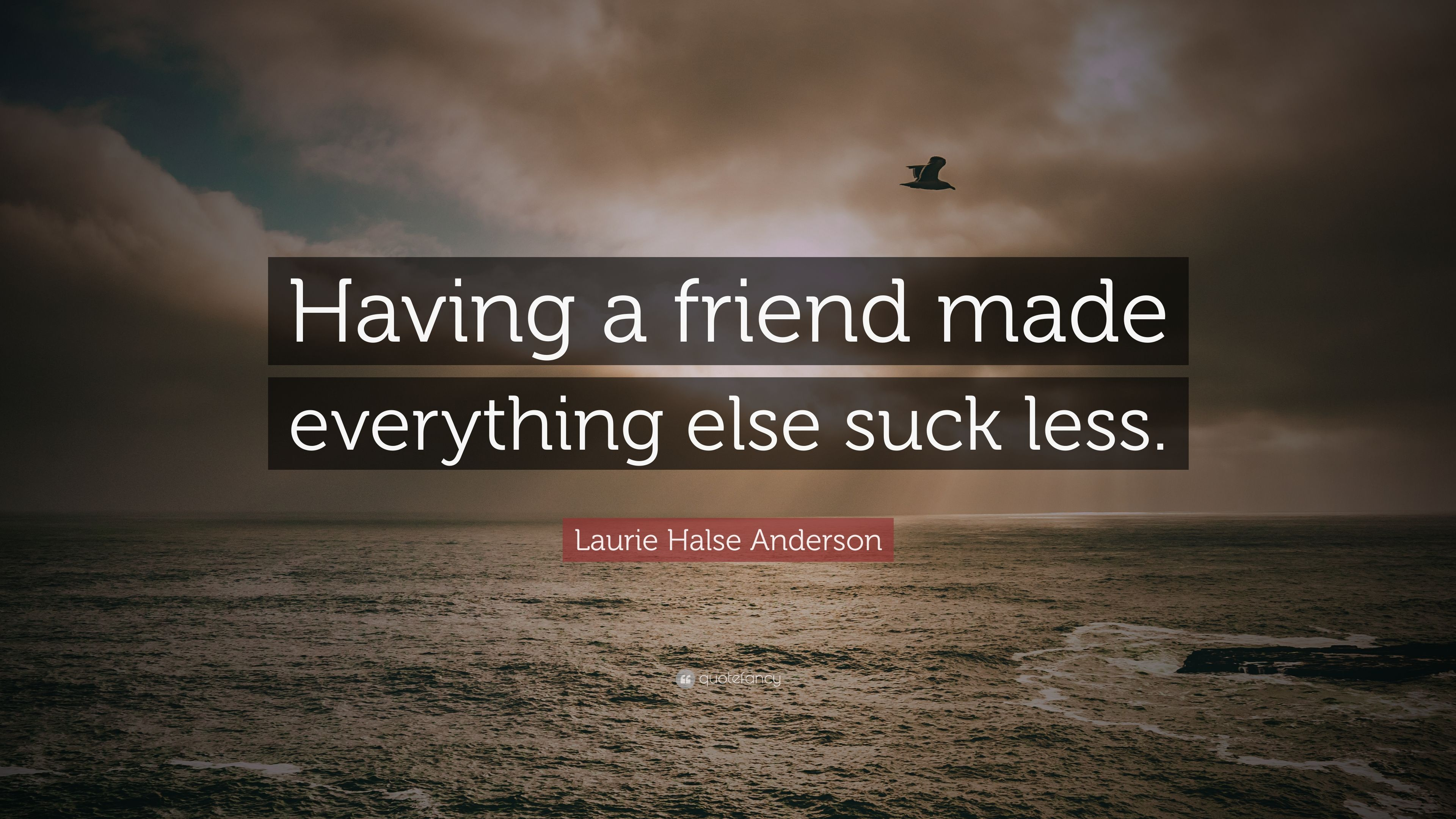 """Laurie Halse Anderson Quote: """"Having a friend made everything else suck  less."""""""