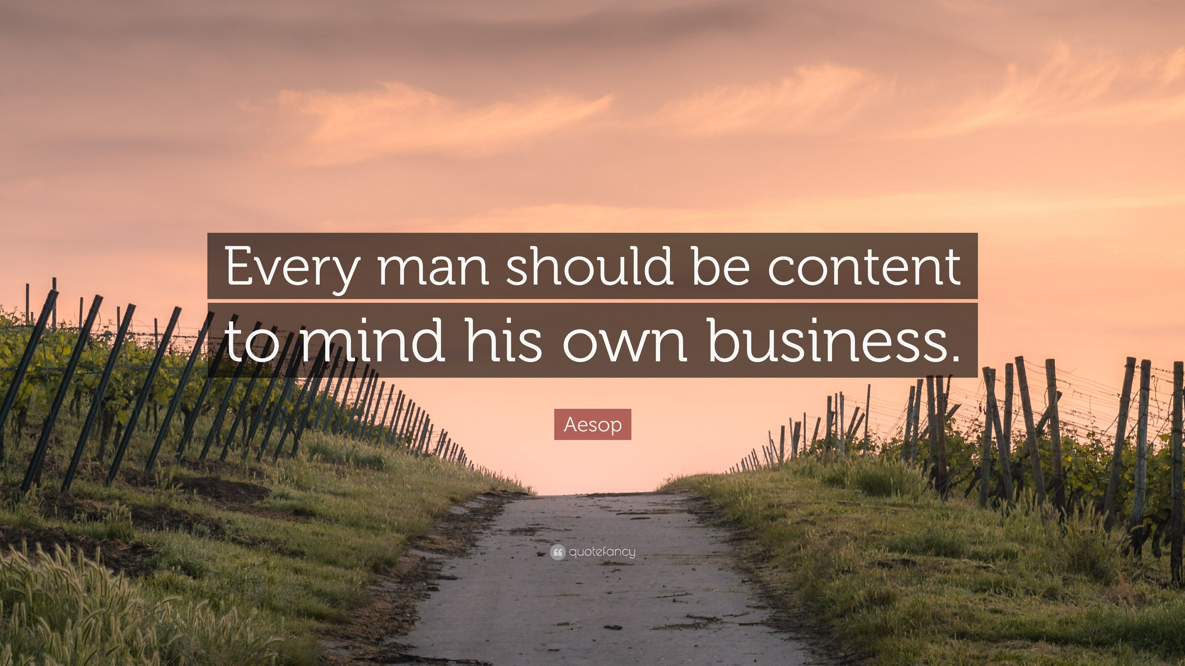 Aesop Quote Every Man Should Be Content To Mind His Own Business