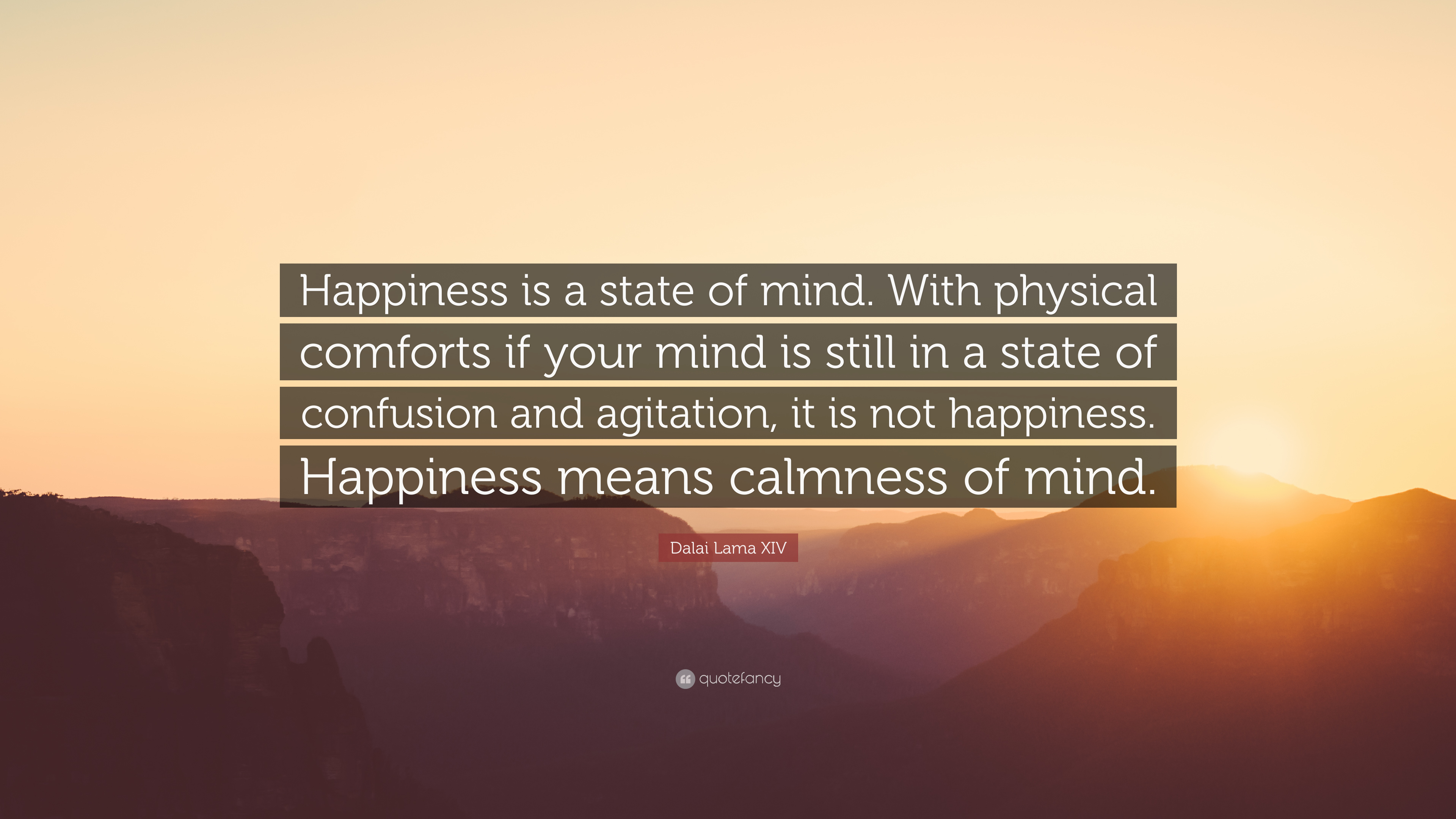 Dalai Lama Xiv Quote Happiness Is A State Of Mind With Physical