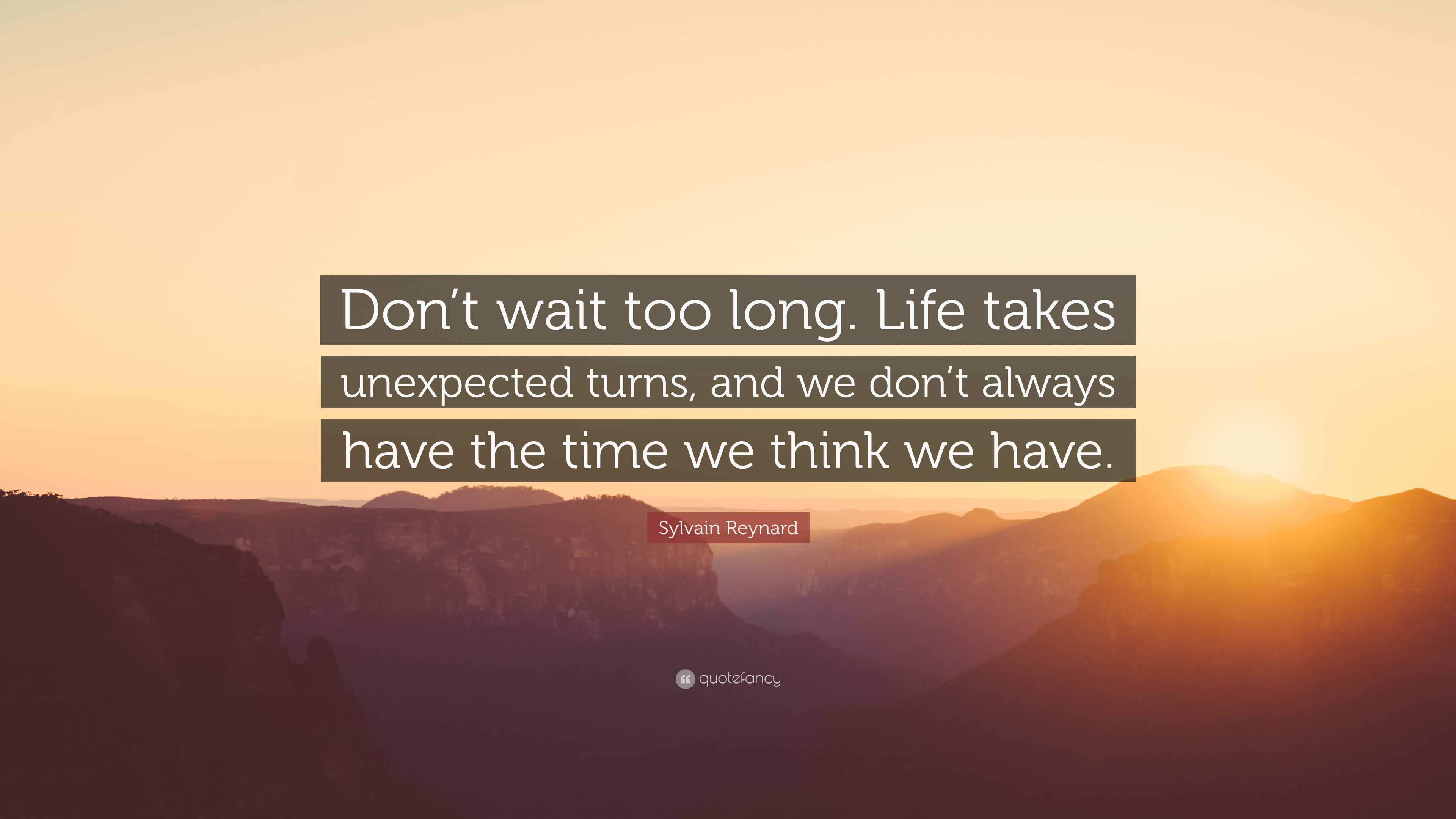 "Sylvain Reynard Quote: ""Don\'t wait too long. Life takes ..."