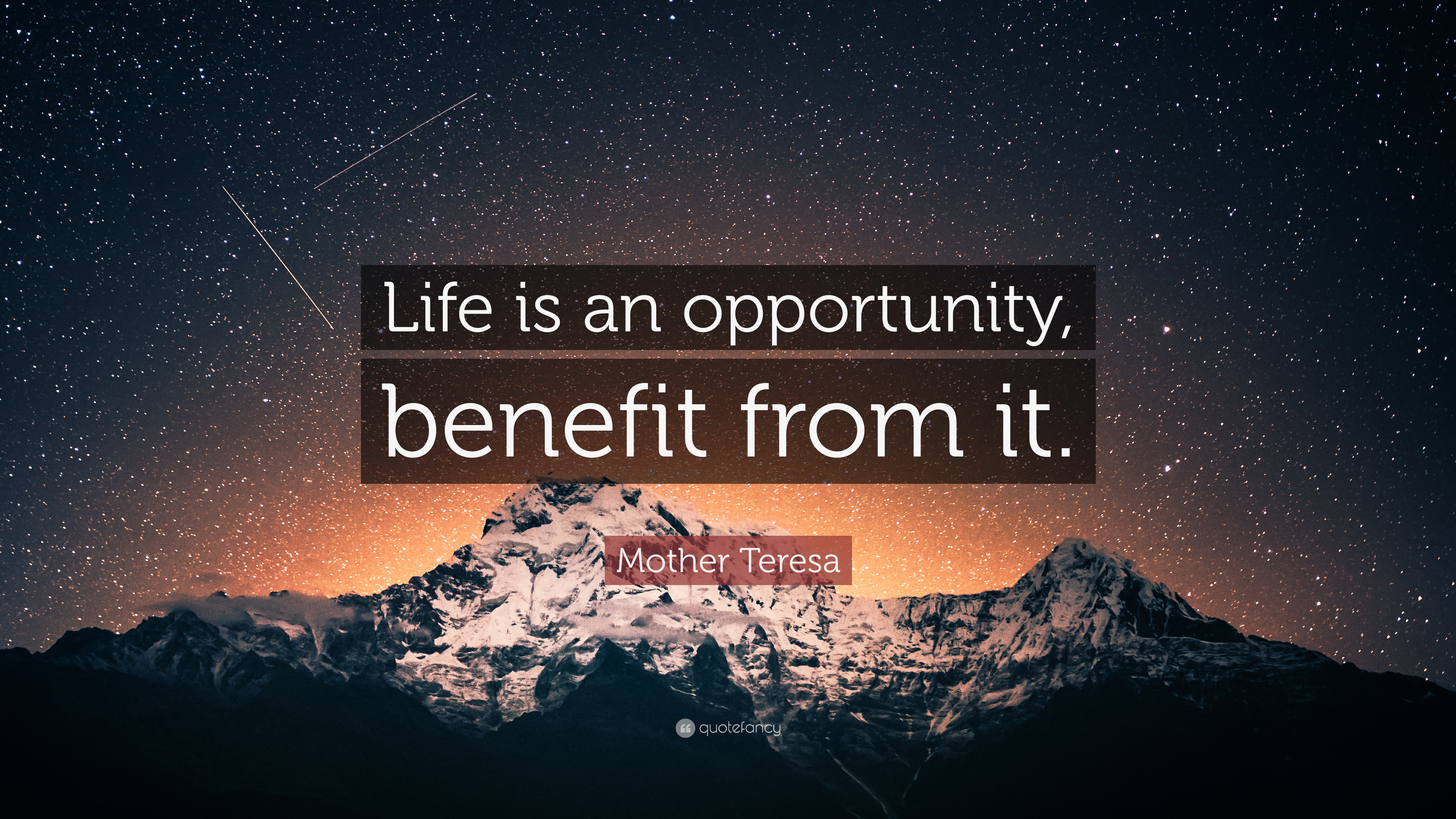 Mother Teresa Quote Life Is An Opportunity Benefit From It 7