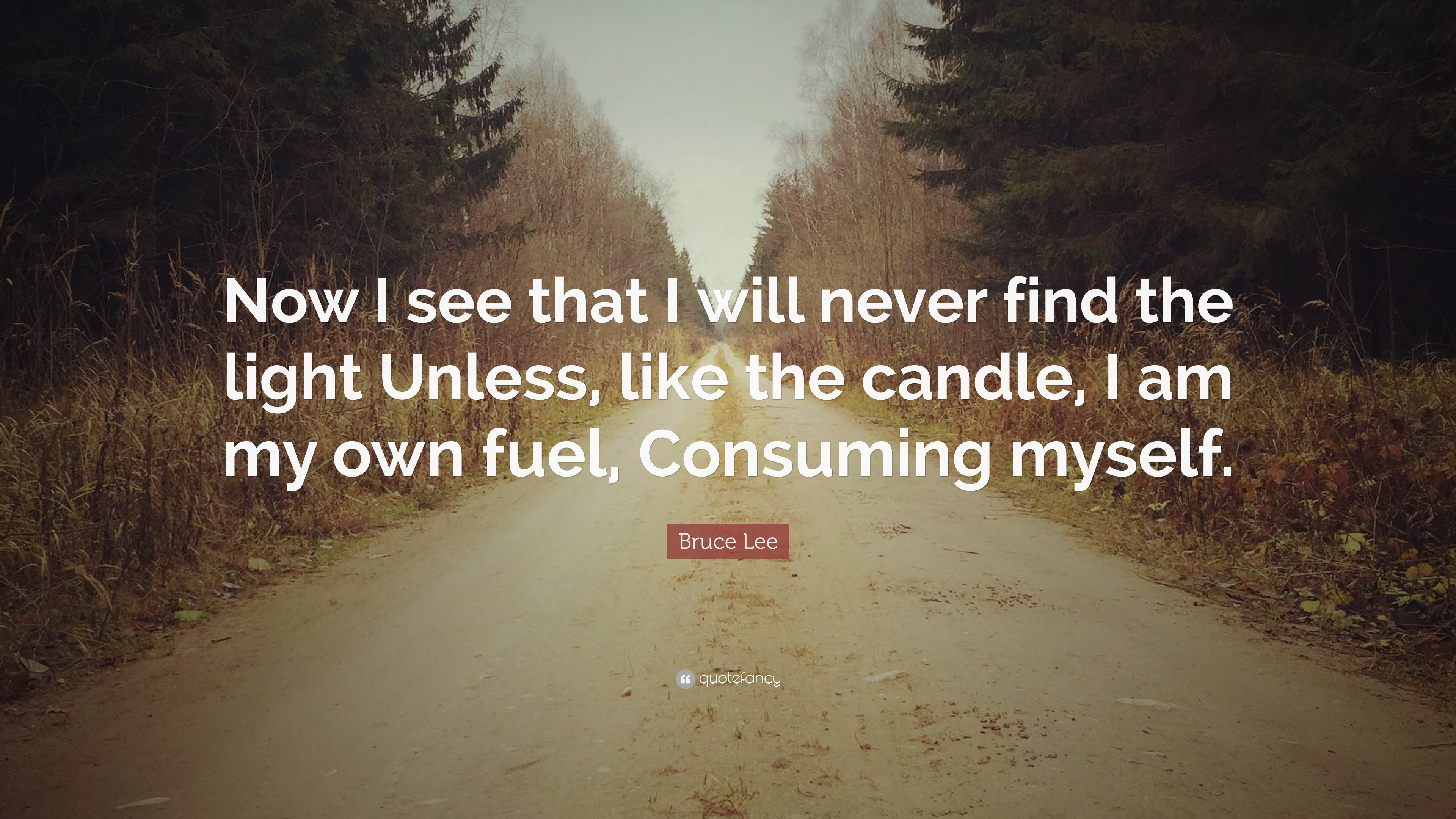 Bruce Lee Quote: Now I see that I will never find the light Unless ...