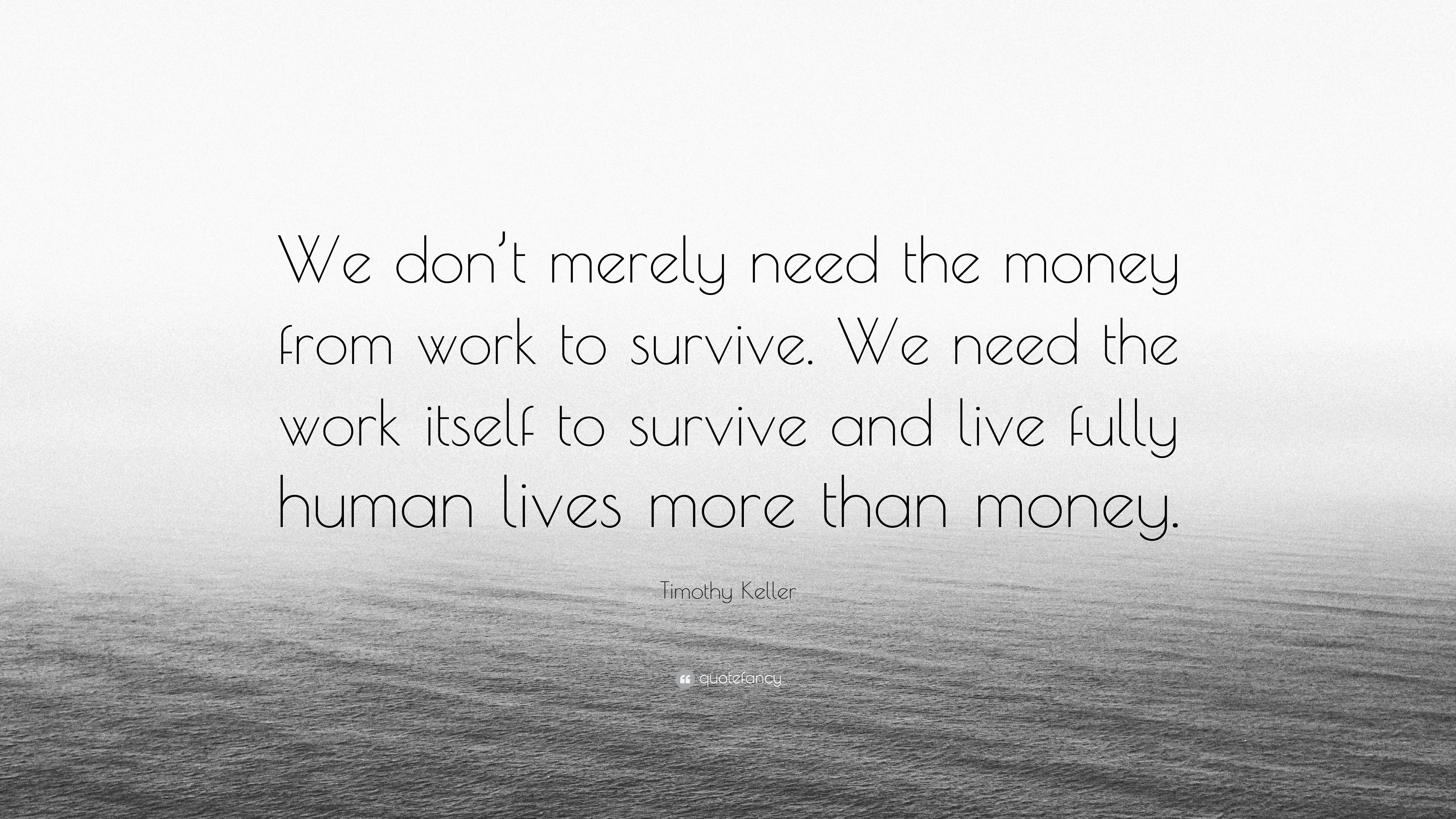 """Timothy Keller Quote: """"We Don't Merely Need The Money From"""