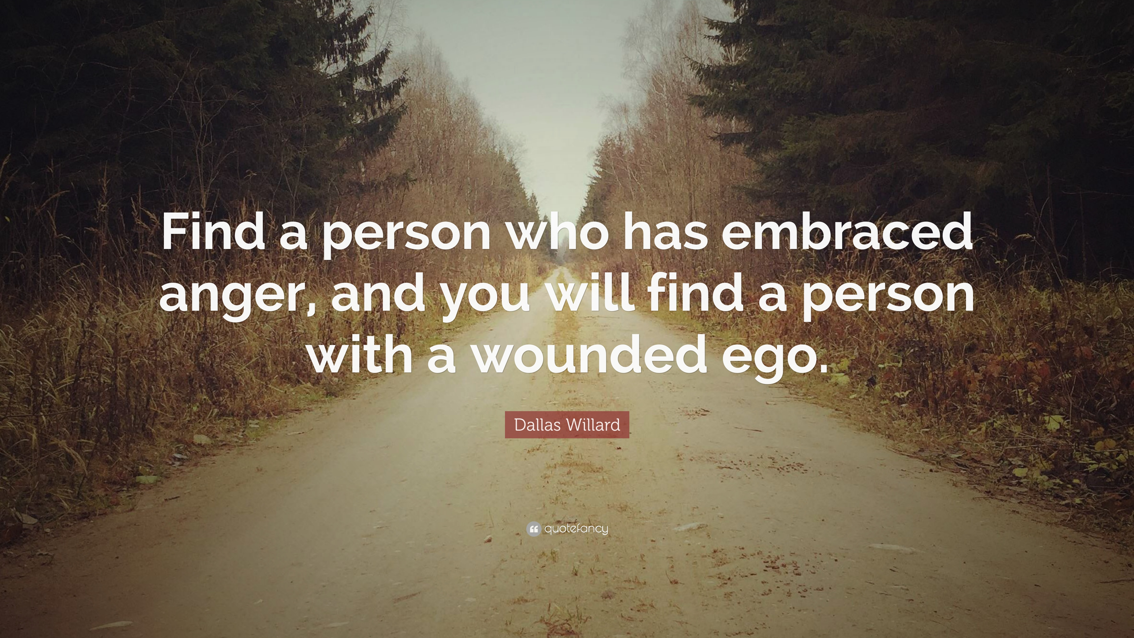 """dallas willard quote """"find a person who has embraced anger and"""