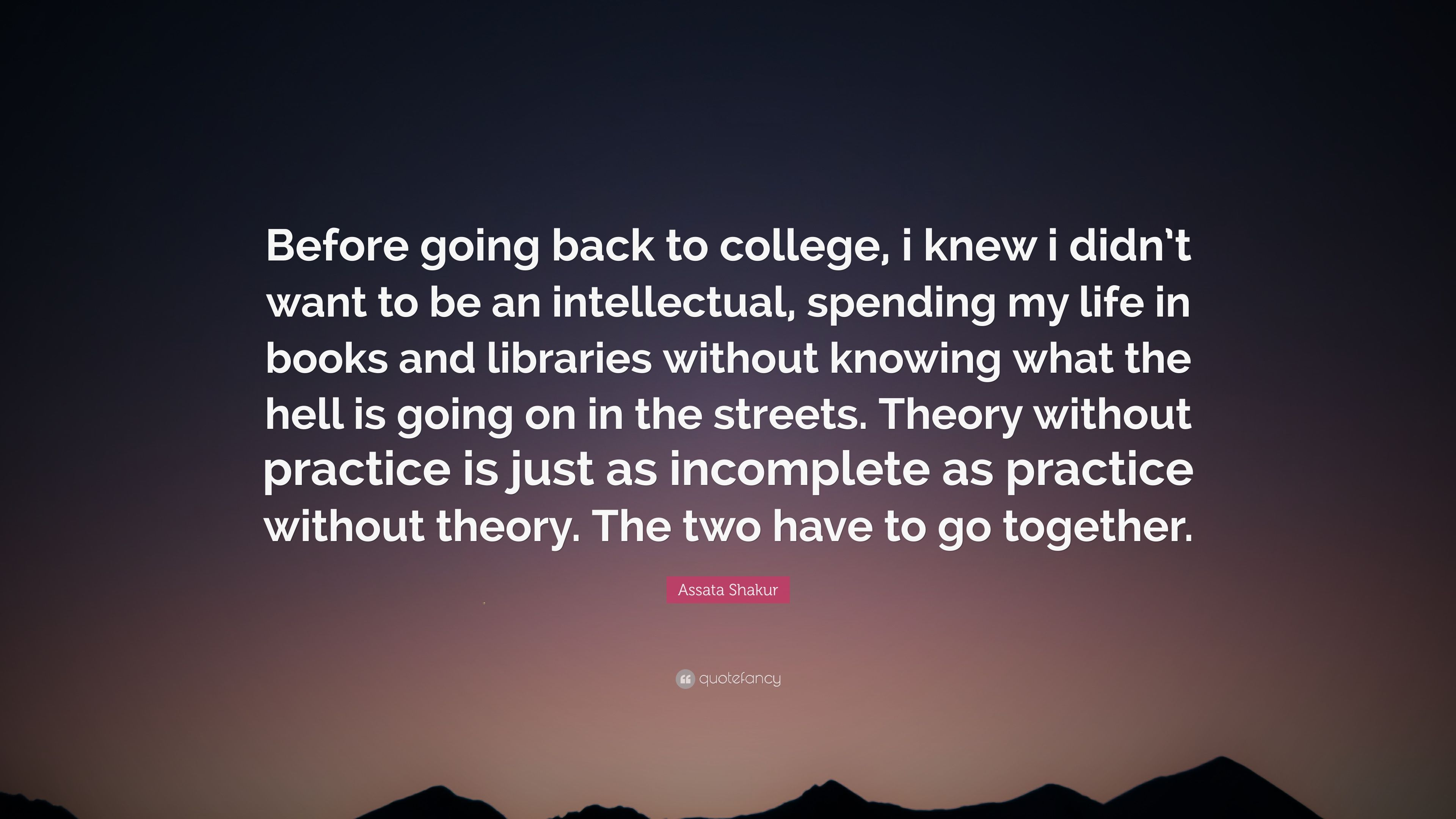 Assata Shakur Quote Before Going Back To College I Knew I Didnt