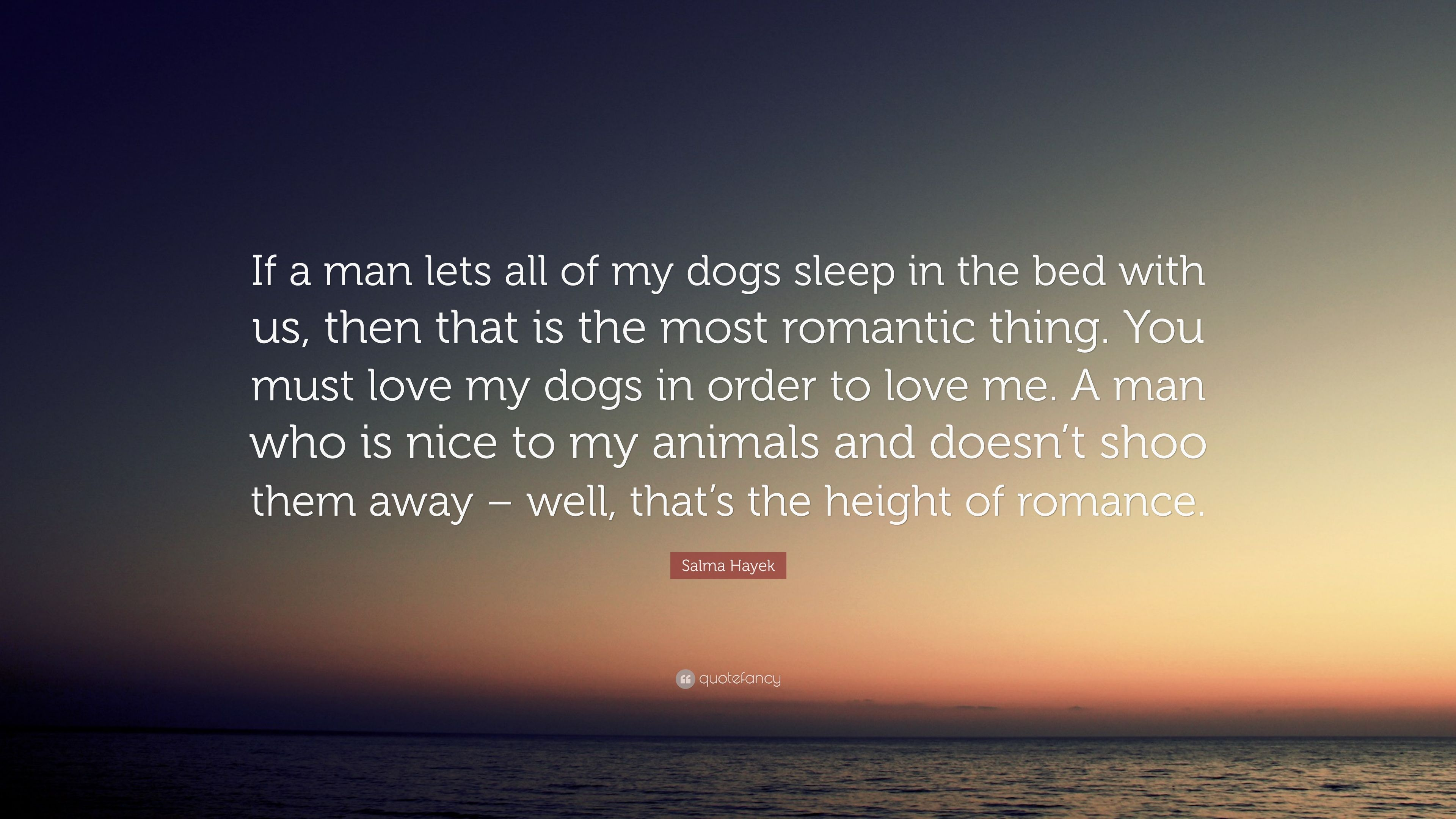 """Salma Hayek Quote """"If a man lets all of my dogs sleep in the"""